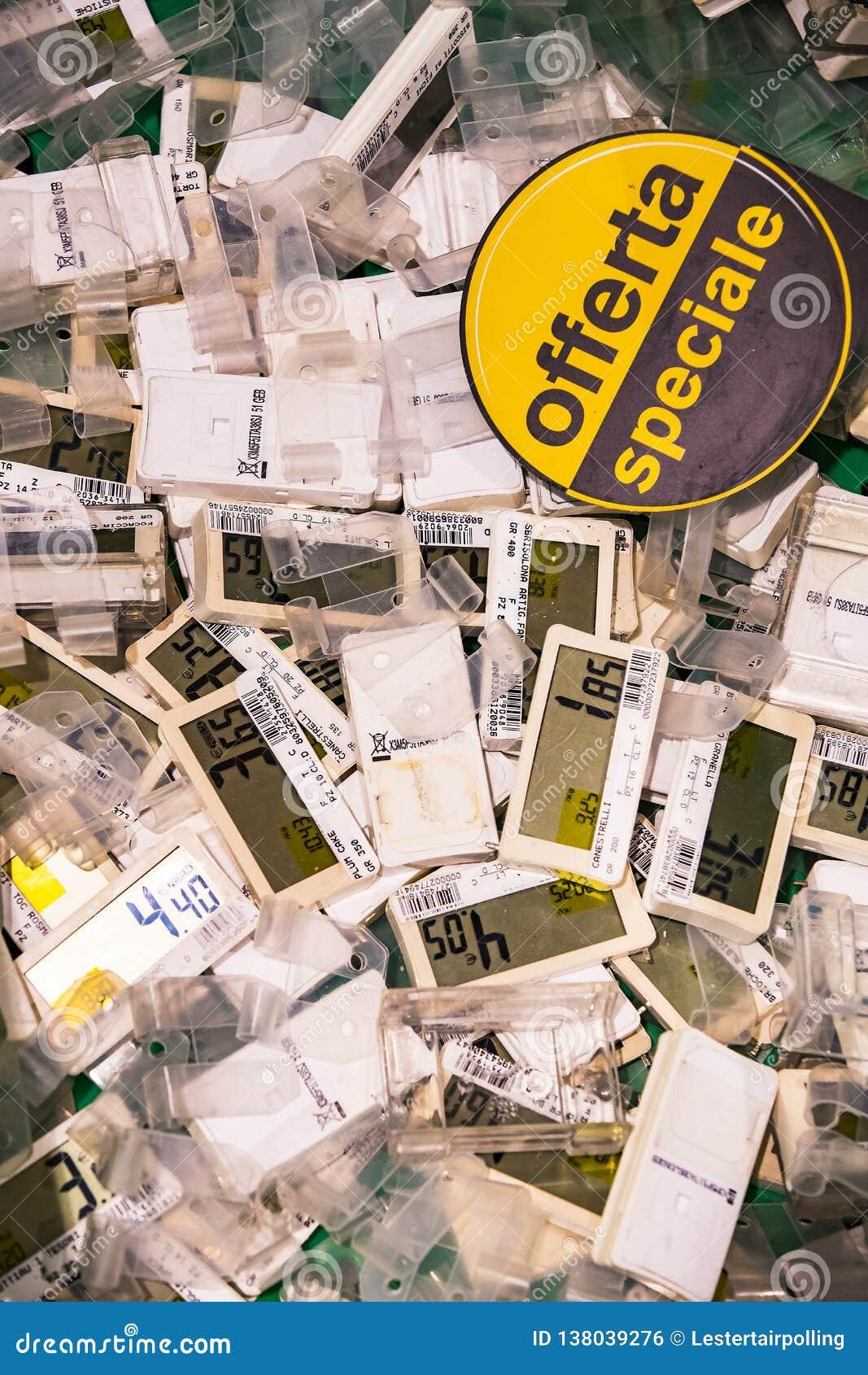 Elektro tarifering voor goederen in de supermarkt Pam