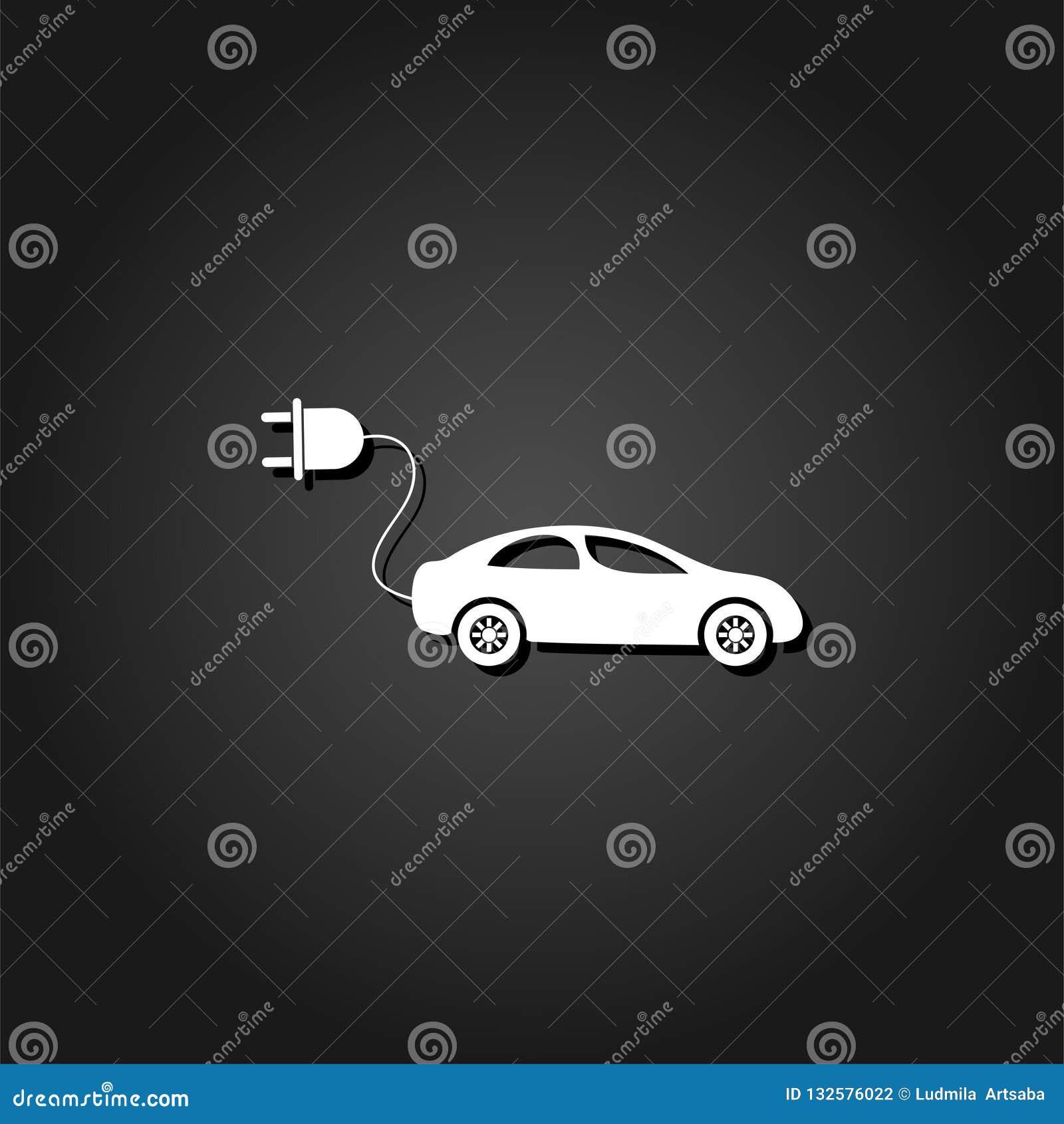 Elektroautoikone flach