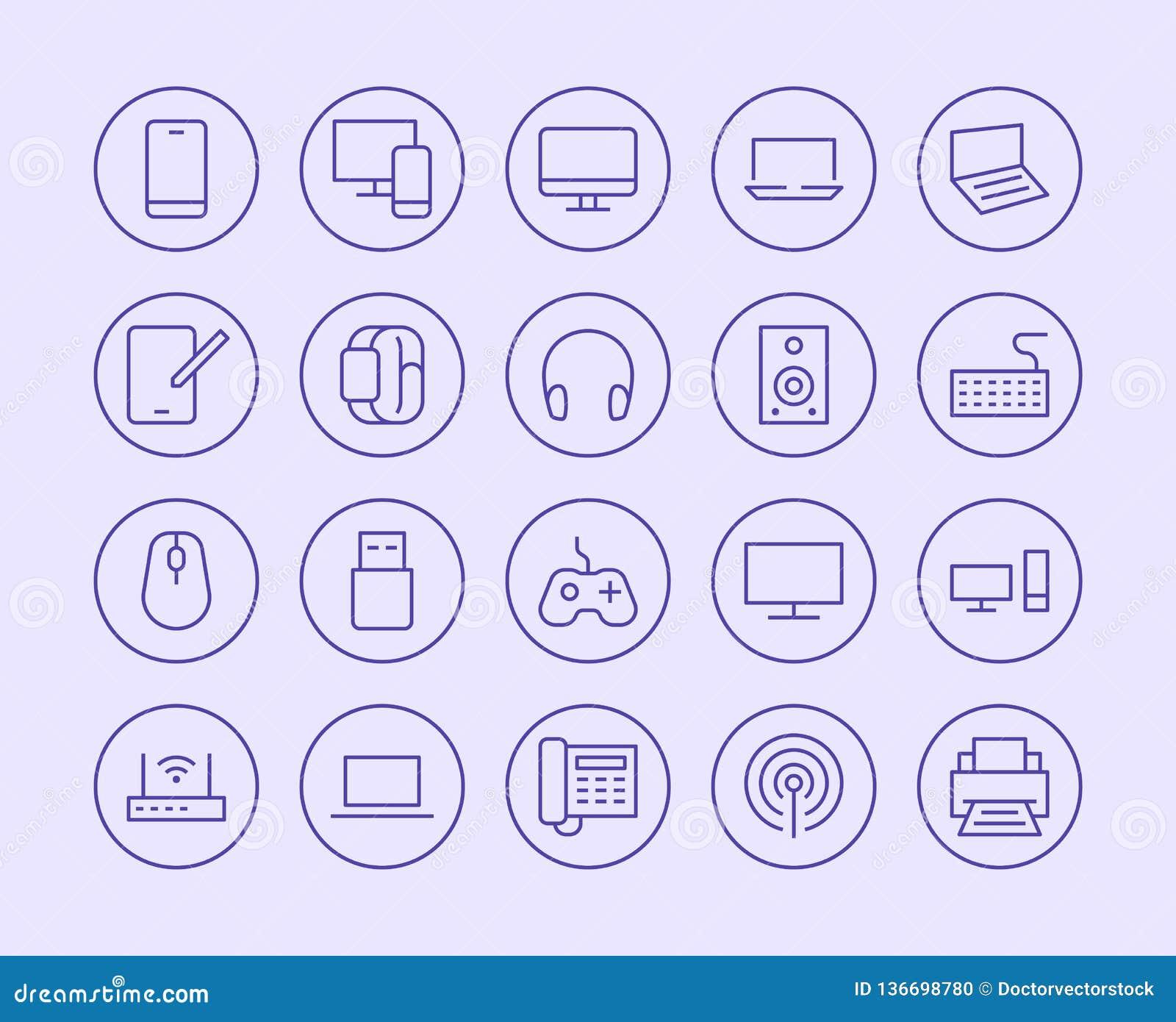Elektronika, technologia sklepu linii ikona Wektorowy Ilustracyjny mieszkanie styl Zawierać ikony jako Tv, komputer, telefon, aud