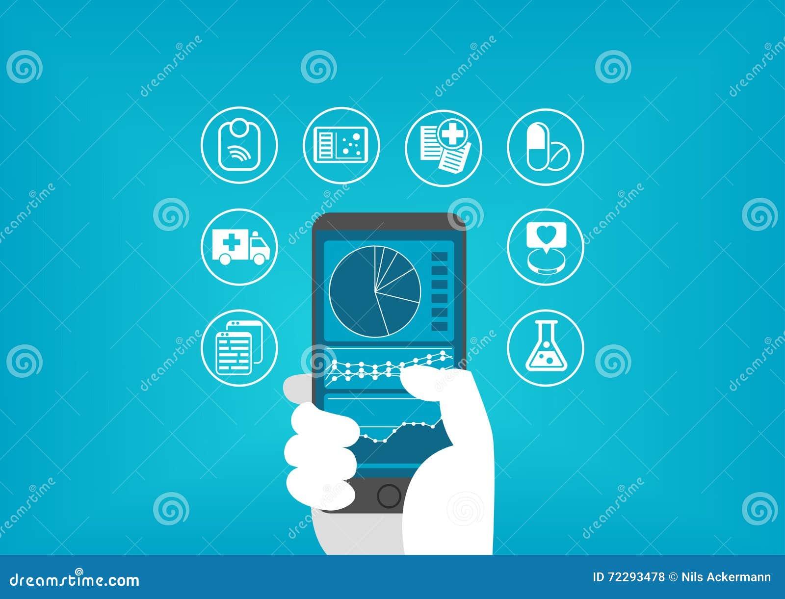Elektronisch gezondheidszorg (e-gezondheid) concept die met hand slimme telefoon houden aan toegangs digitale medische dossiers v
