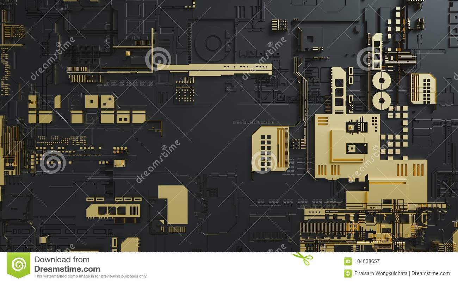 Download Elektronisch Schakelschema Met Goud Op Zwarte Achtergrond Stock Afbeelding - Afbeelding bestaande uit ontwerp, goud: 104638657