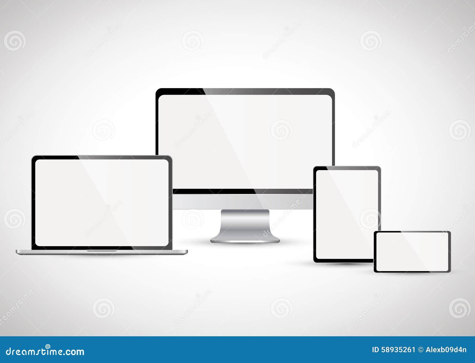 Elektronische apparaten met het witte scherm plaats 4 vector illustratie afbeelding 58935261 - Moderne apparaten ...