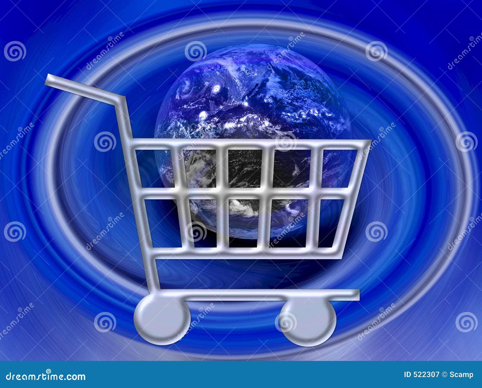 Elektronische handel - Boodschappenwagentje Internet WWW