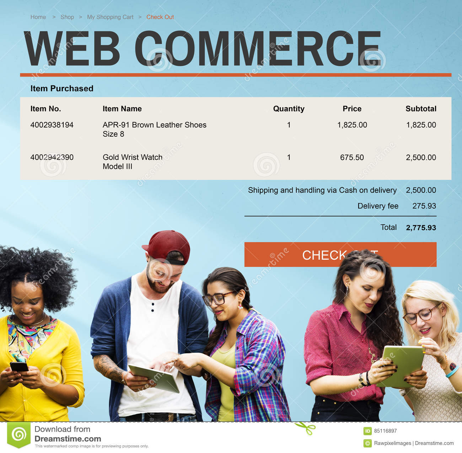 Elektronische handel het Online het Winkelen Concept van de Websitetechnologie