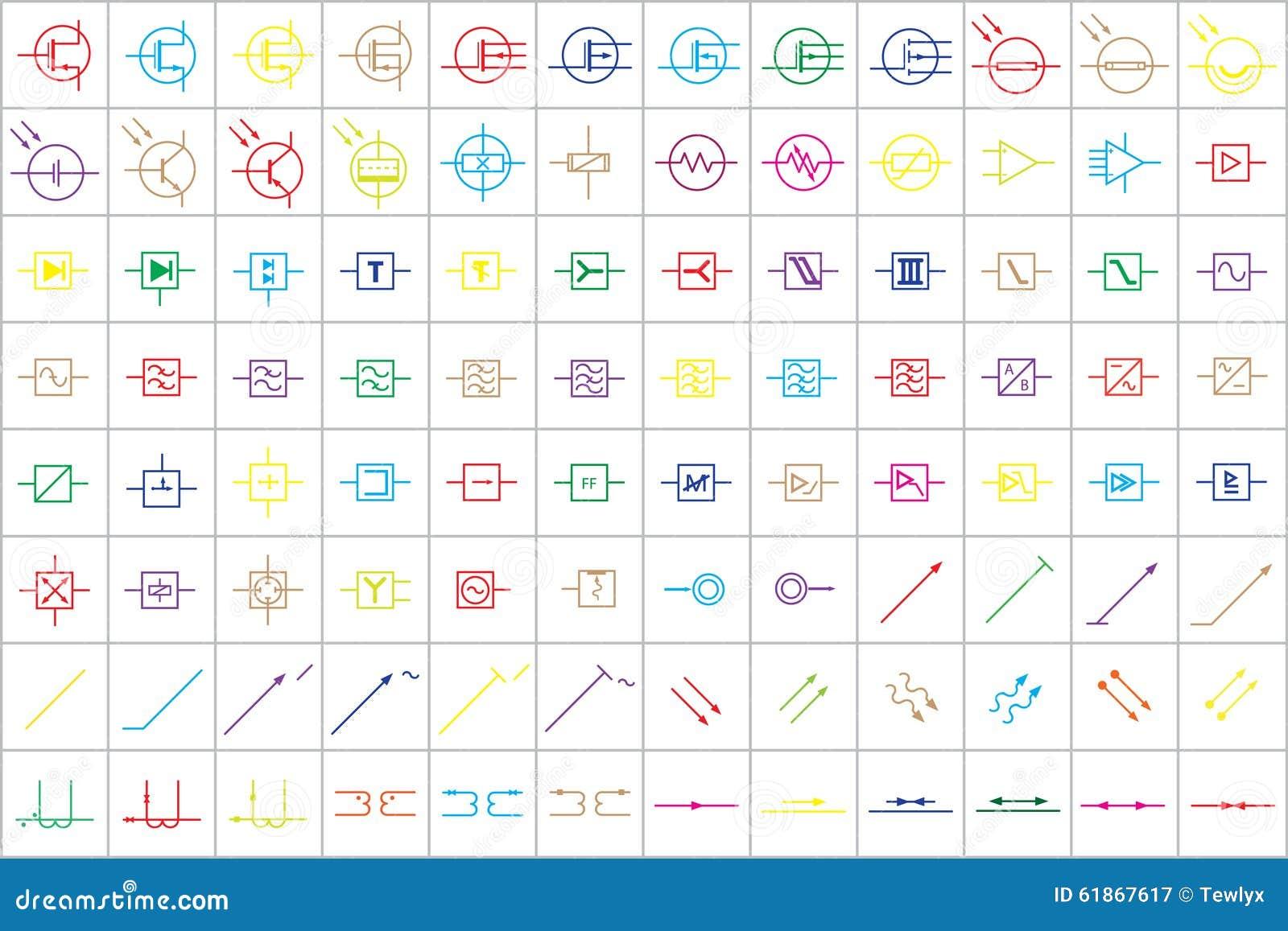 96 Elektronische Und Elektrische Symbole V 3 Vektor Abbildung ...