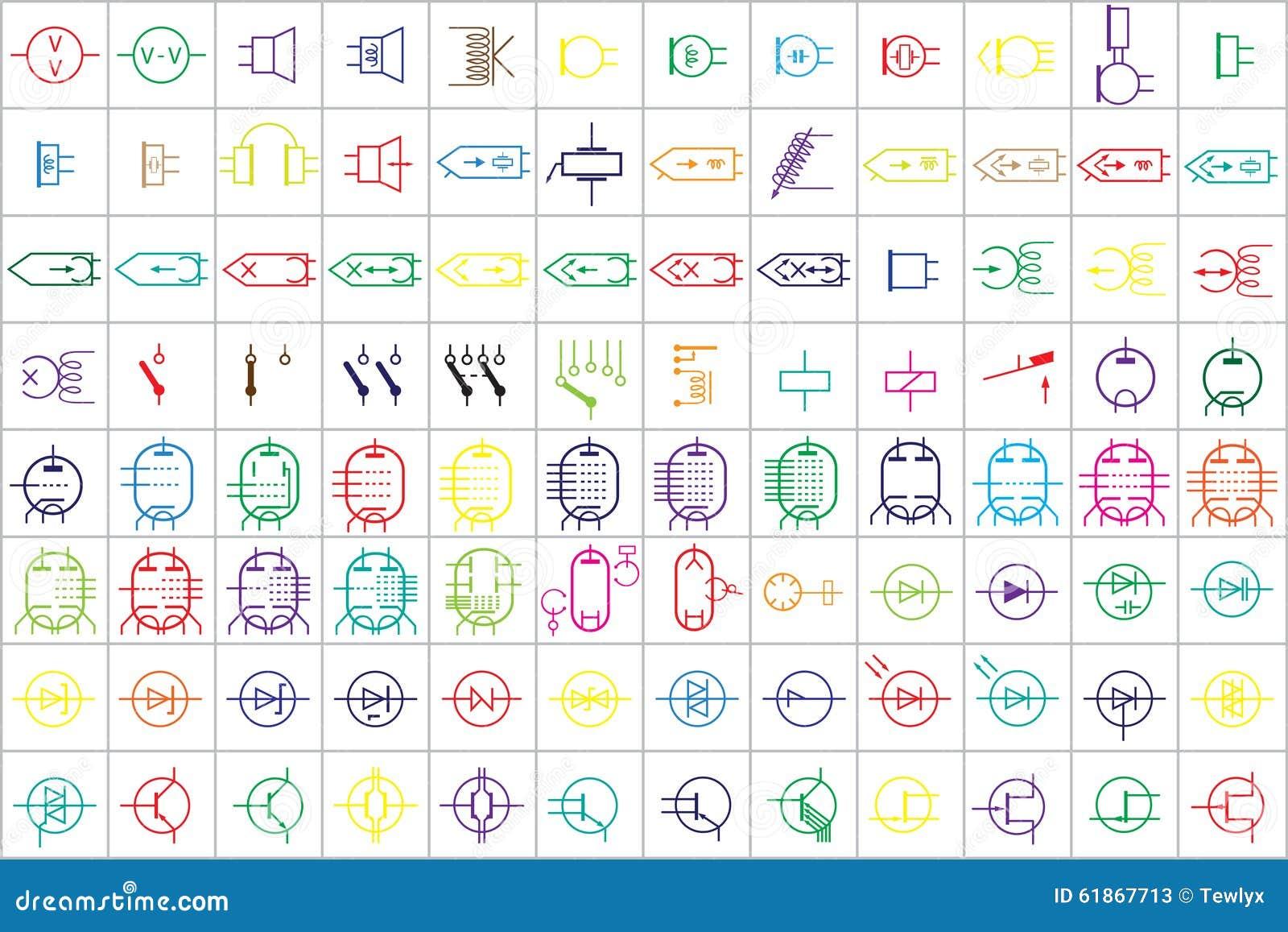 96 Elektronische Und Elektrische Symbole V 2 Vektor Abbildung ...