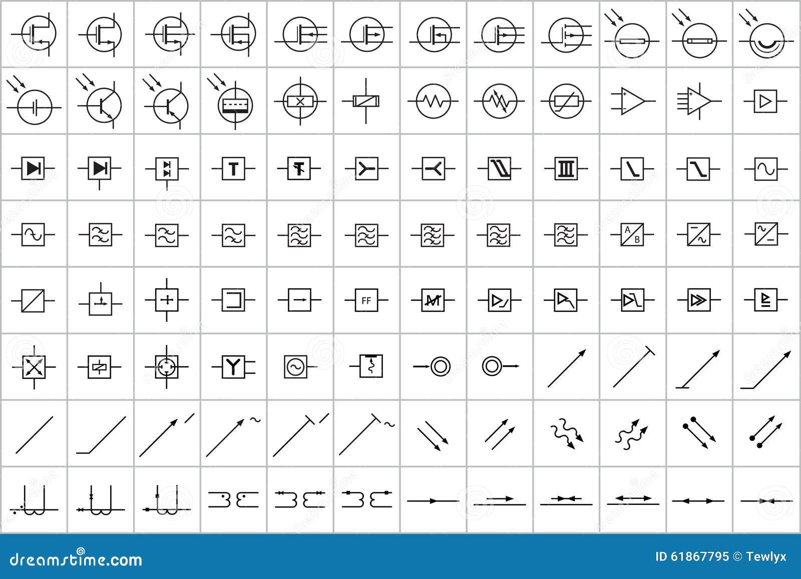 96 Elektronische Und Elektrische Symbole V 3 Stockfoto
