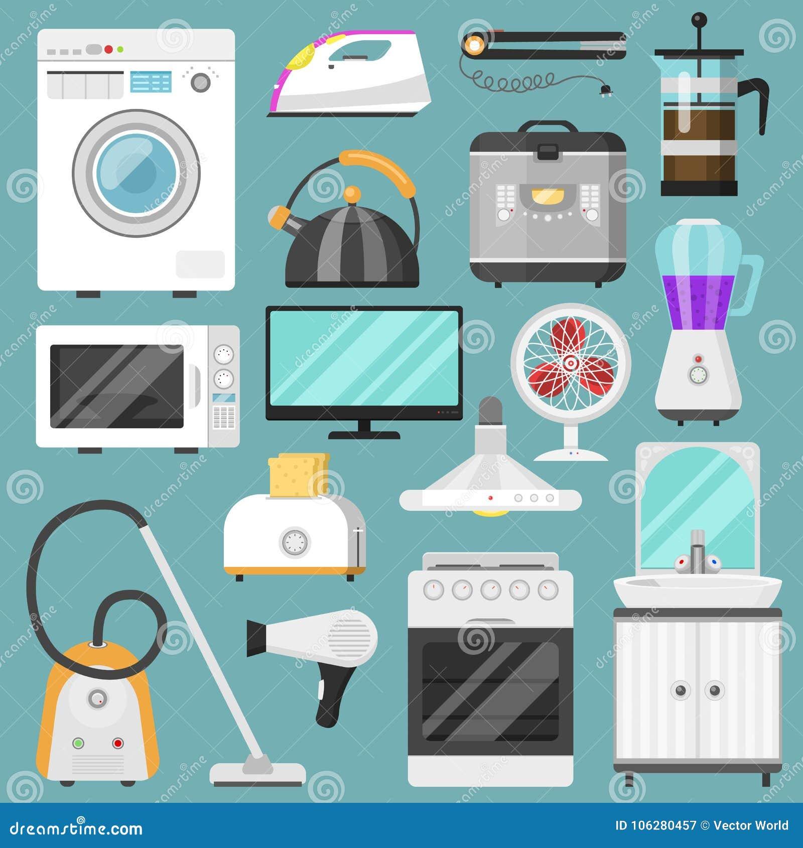 Elektronisk homeappliance för kök för vektor för hushållanordningar för husuppsättningkylskåp eller tvagningmaskin i elkraft