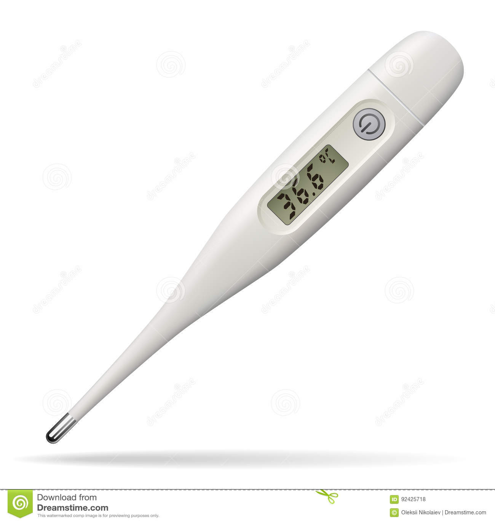 Elektronisk medicinsk termometer Digital apparat för att mäta temperaturen av människokroppen Isolerat anmärka vitt