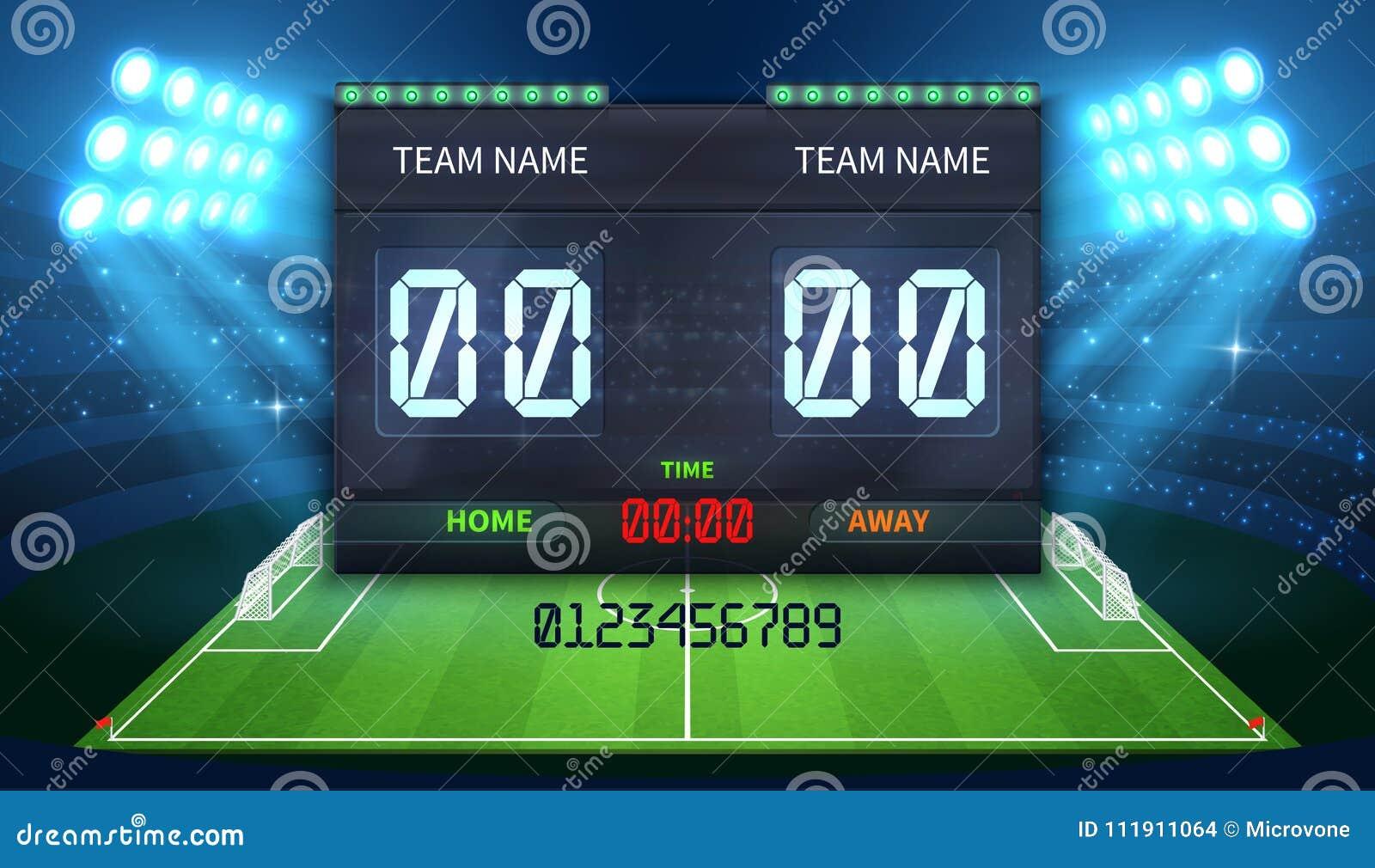 Elektroniskt sportfunktionskort för stadion med fotbolltid- och fotbollsmatchresultatskärm