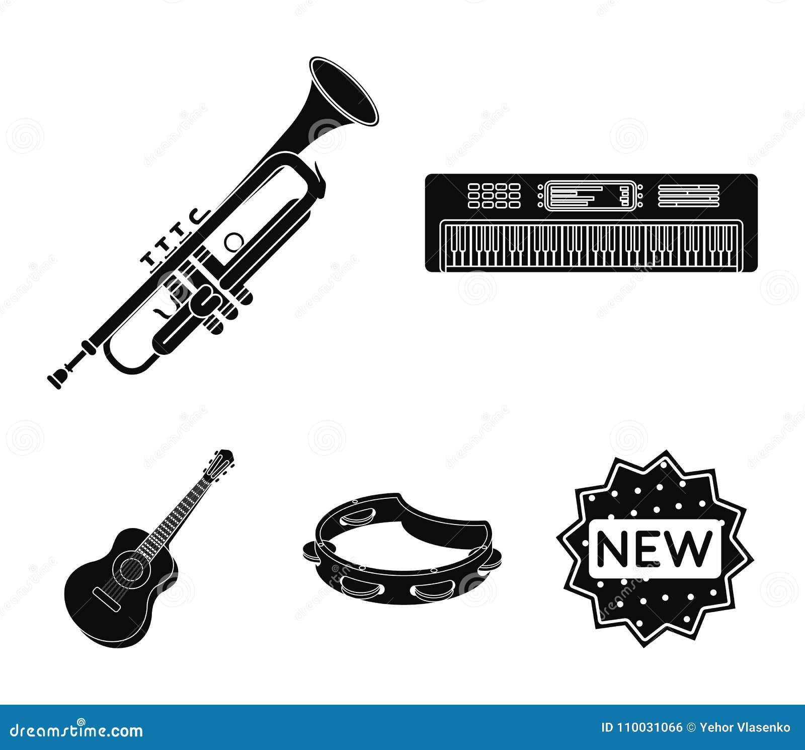 Elektroorgaan, trompet, tamboerijn, koordgitaar Muzikale instrumenten geplaatst inzamelingspictogrammen in zwart stijl vectorsymb