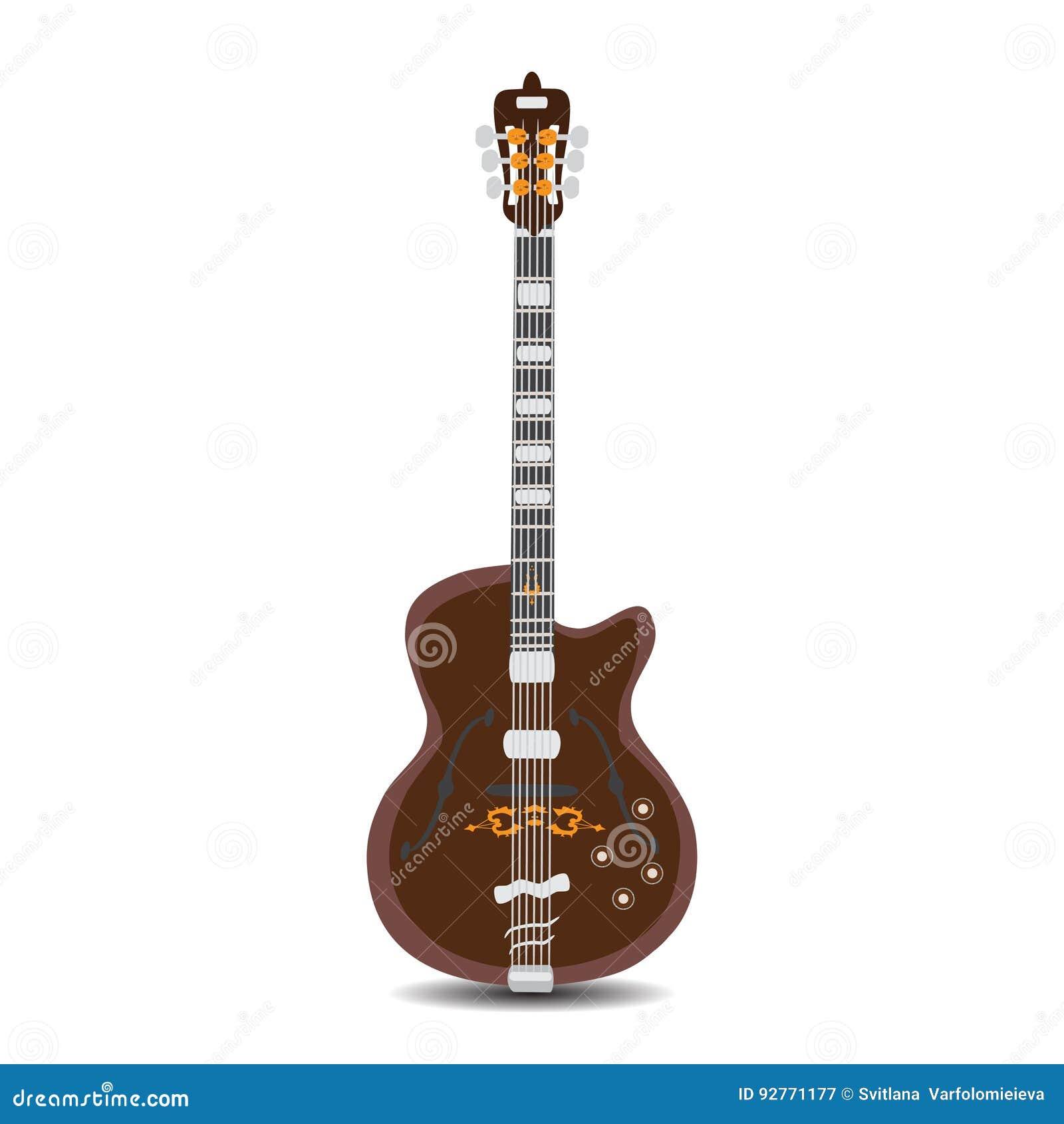 Elektryczna rytm gitara, wektorowa ilustracja w mieszkanie stylu
