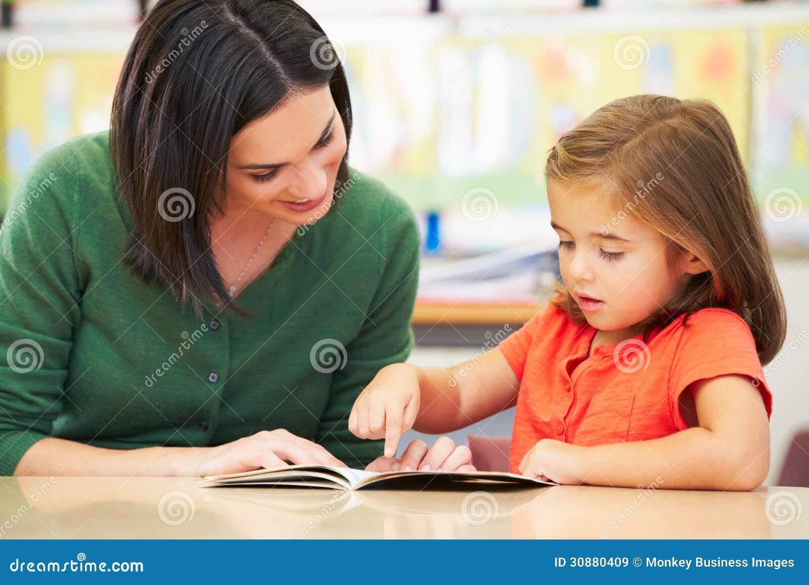 Elementär elevläsning med läraren In Classroom