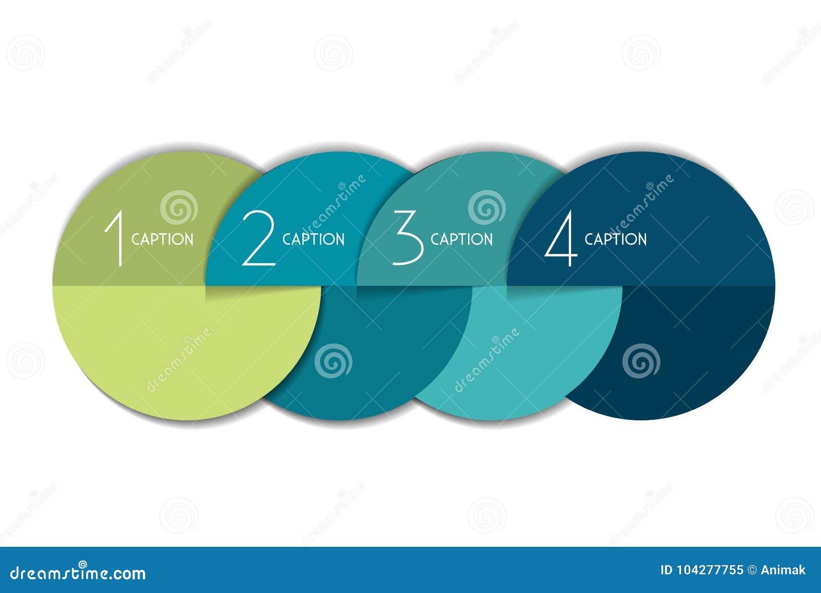 Element-Blasendiagramm mit 4 Schritten, Entwurf, Diagramm, Schablone