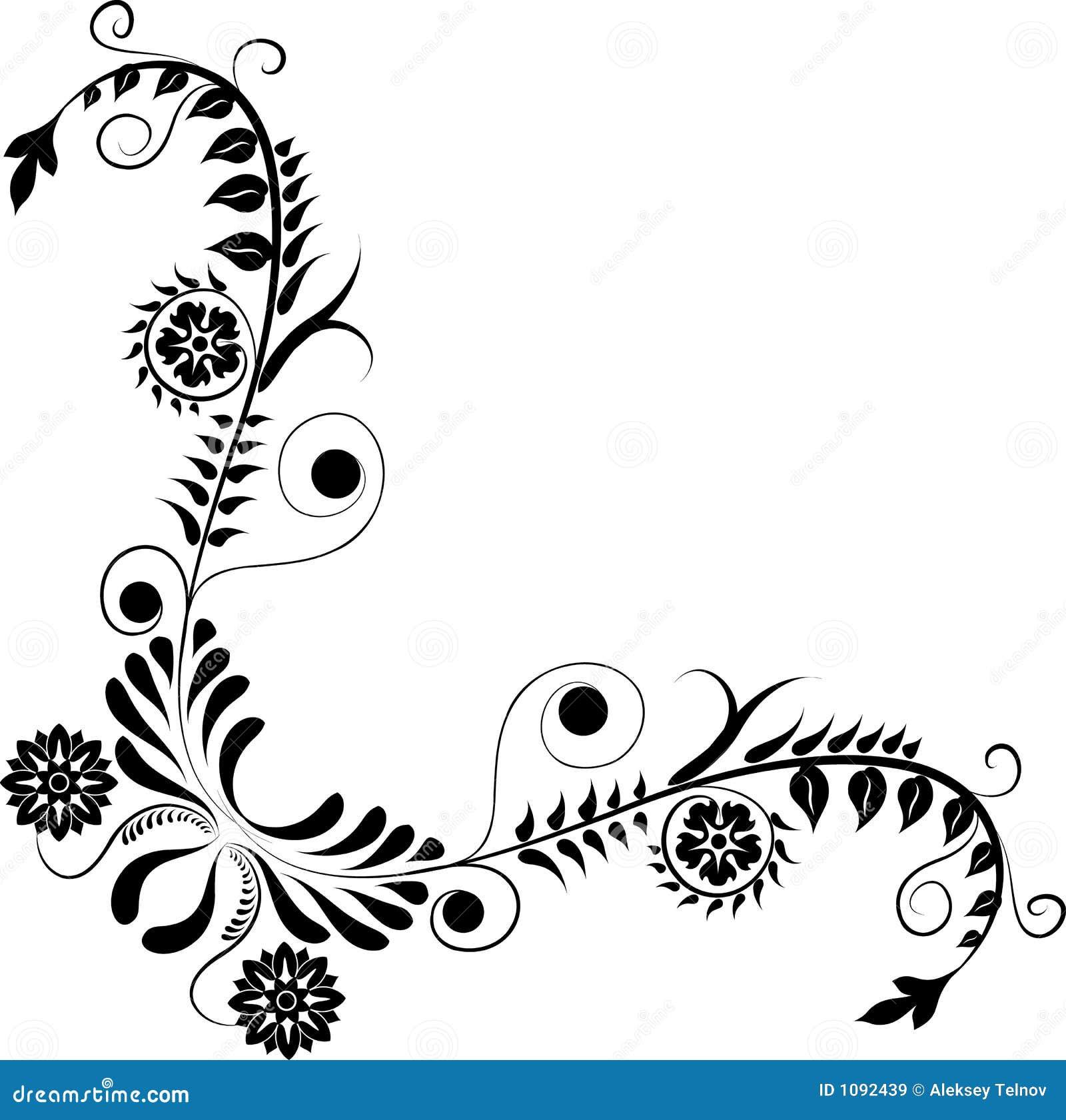Element For Design Corner Flower Vector Stock