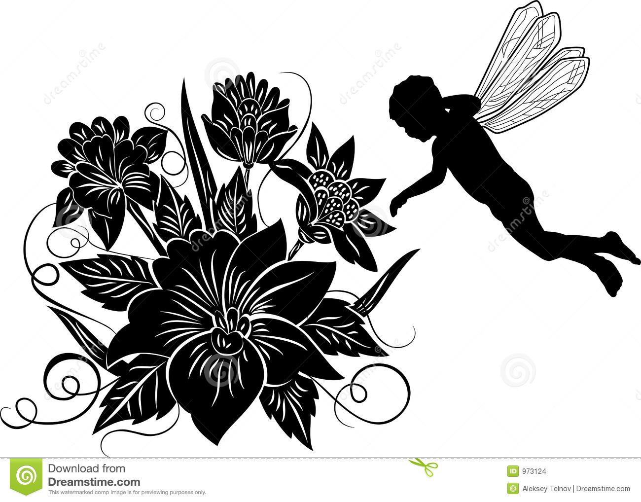 Element for design flower with silhouette elf vector stock element for design flower with silhouette elf vector altavistaventures Images