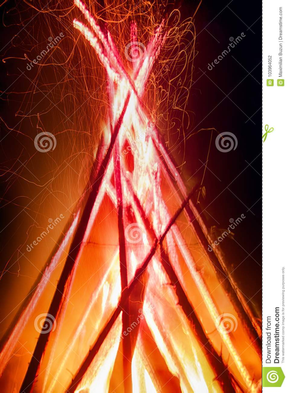 huge night fire on holiday stock photo image of bonfires 103964052