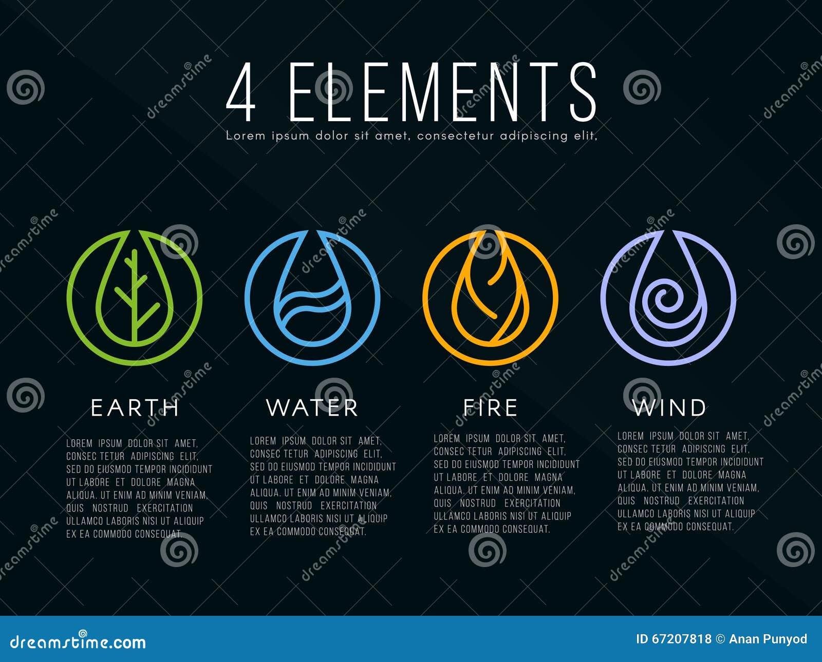 element logozeichen der natur 4 wasser feuer erde luft auf dunklem hintergrund vektor. Black Bedroom Furniture Sets. Home Design Ideas