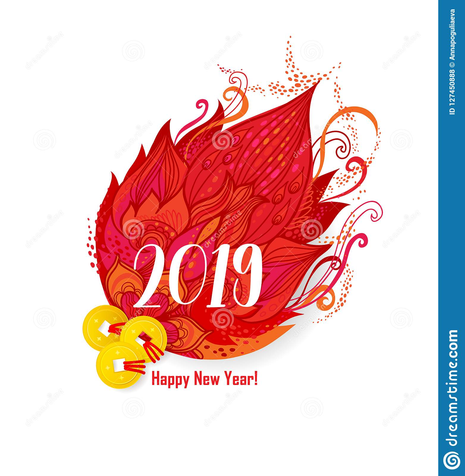 Element for New Year`s design in Сhinese style.