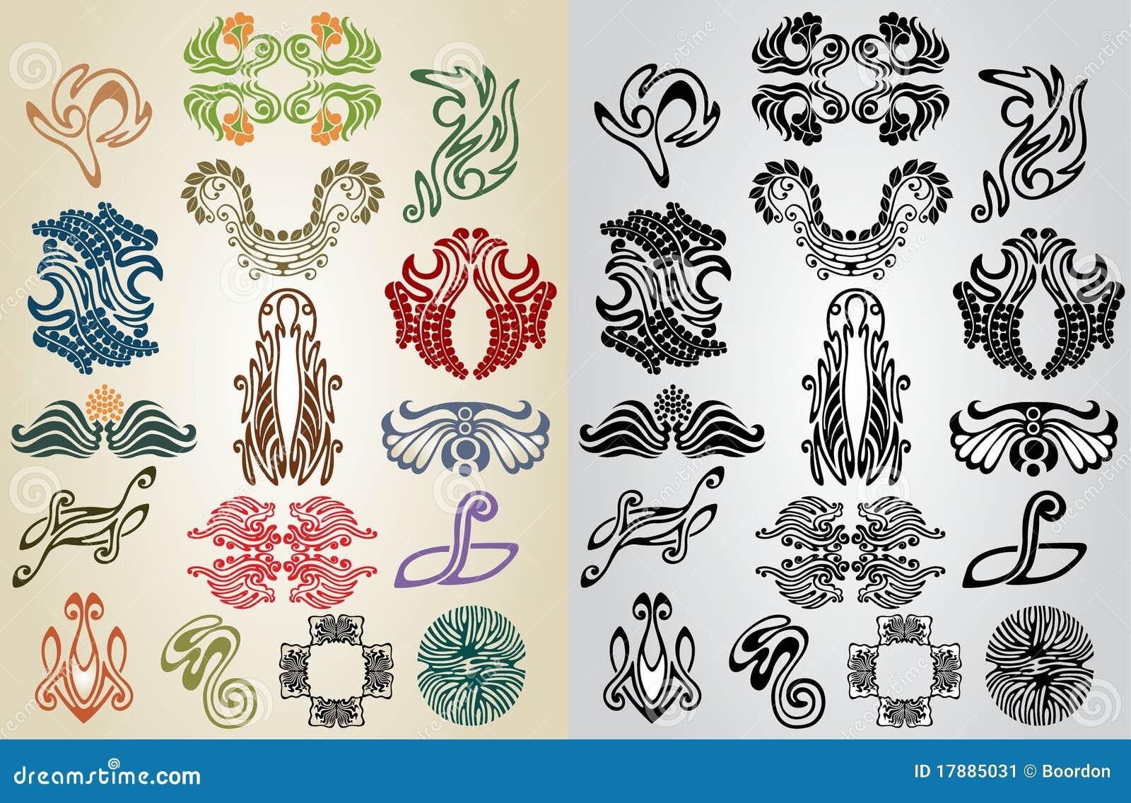 Elements Of Art Pattern : Element pattern art nouveau collection stock image