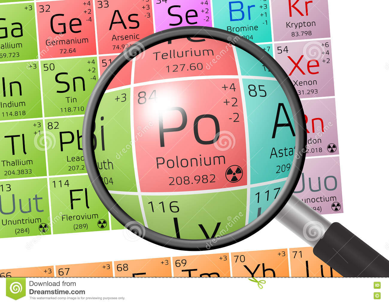 element of polonium with magnifying glass stock illustration