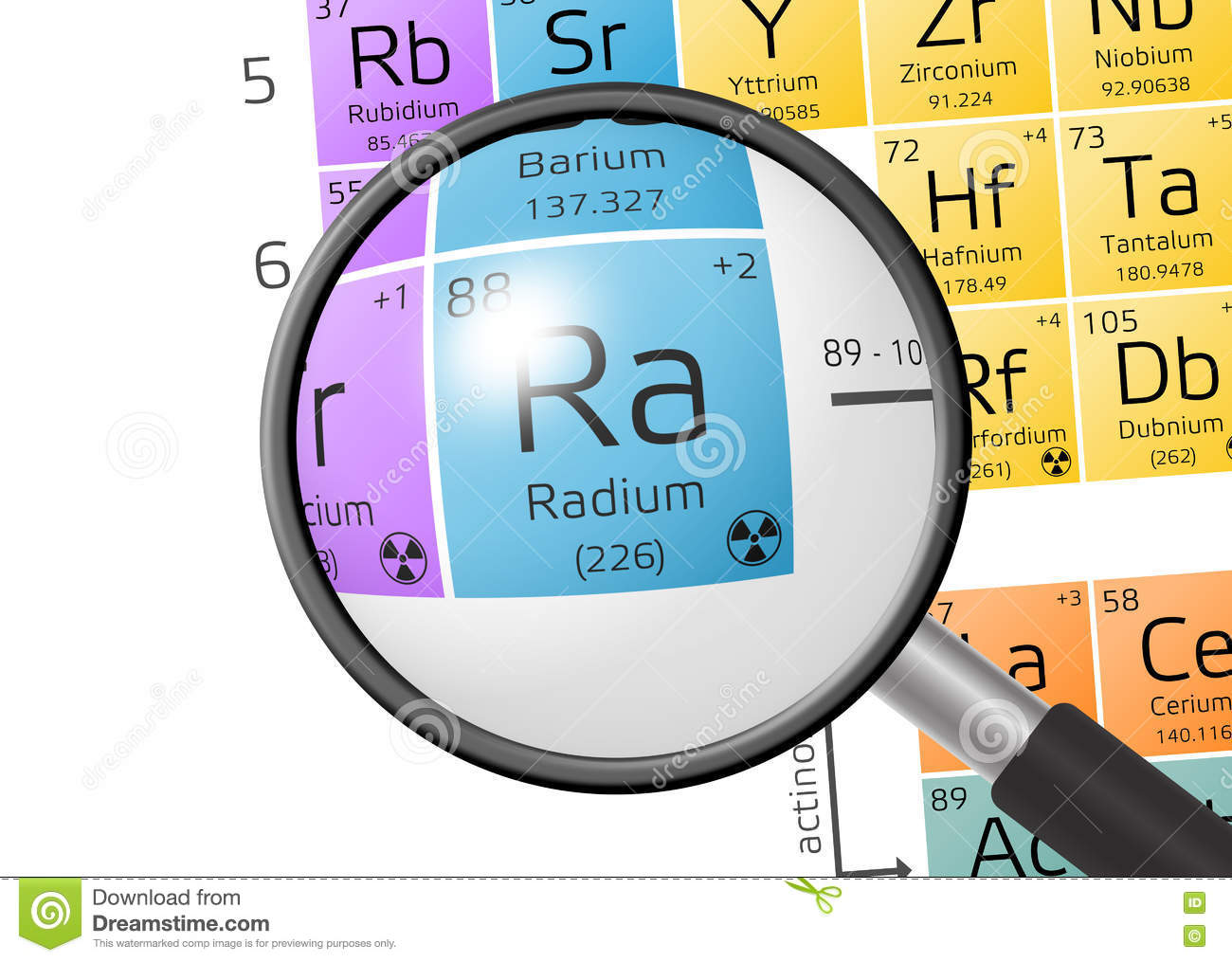 Element of radium with magnifying glass stock illustration element of radium with magnifying glass pooptronica