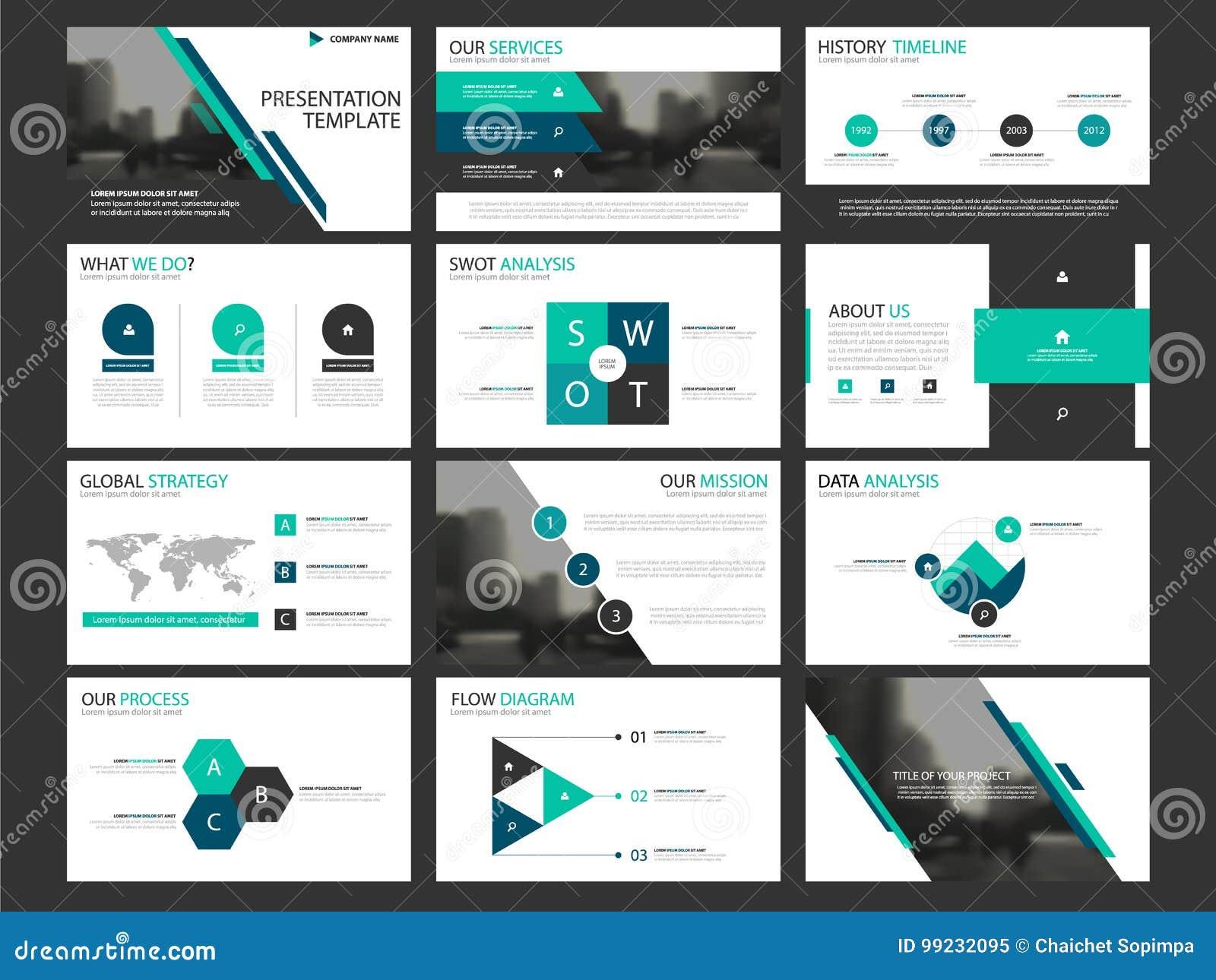 Element-Schablonensatz der Geschäftsdarstellung infographic, korporatives horizontales Broschürendesign des Jahresberichts