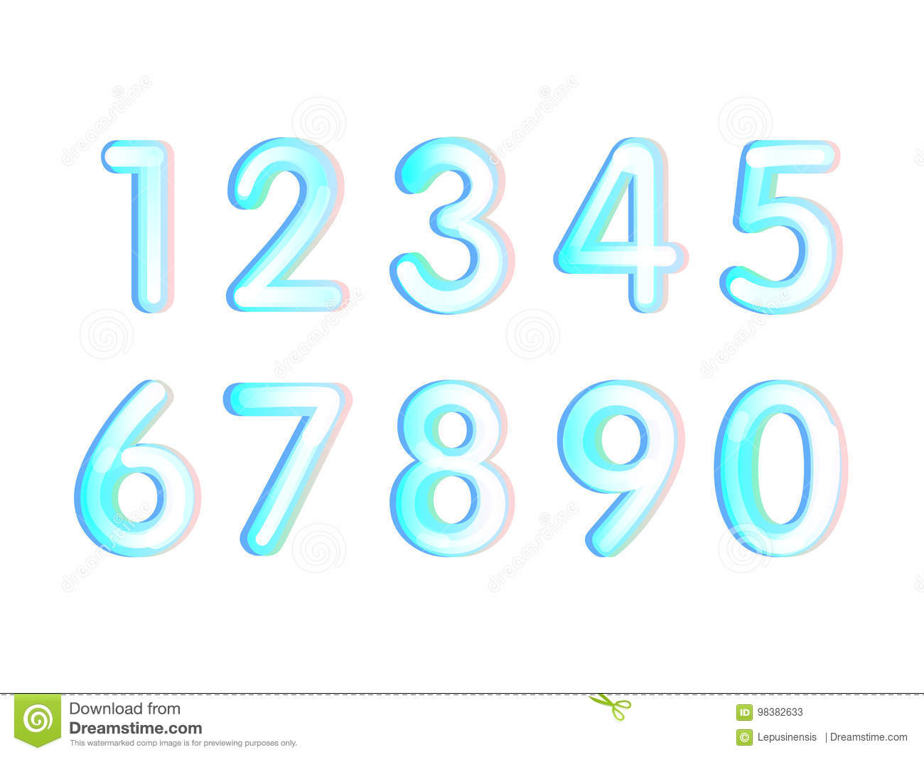 Element Set Of Ten Numbers Form Zero To Nine, Number Flat Design ...