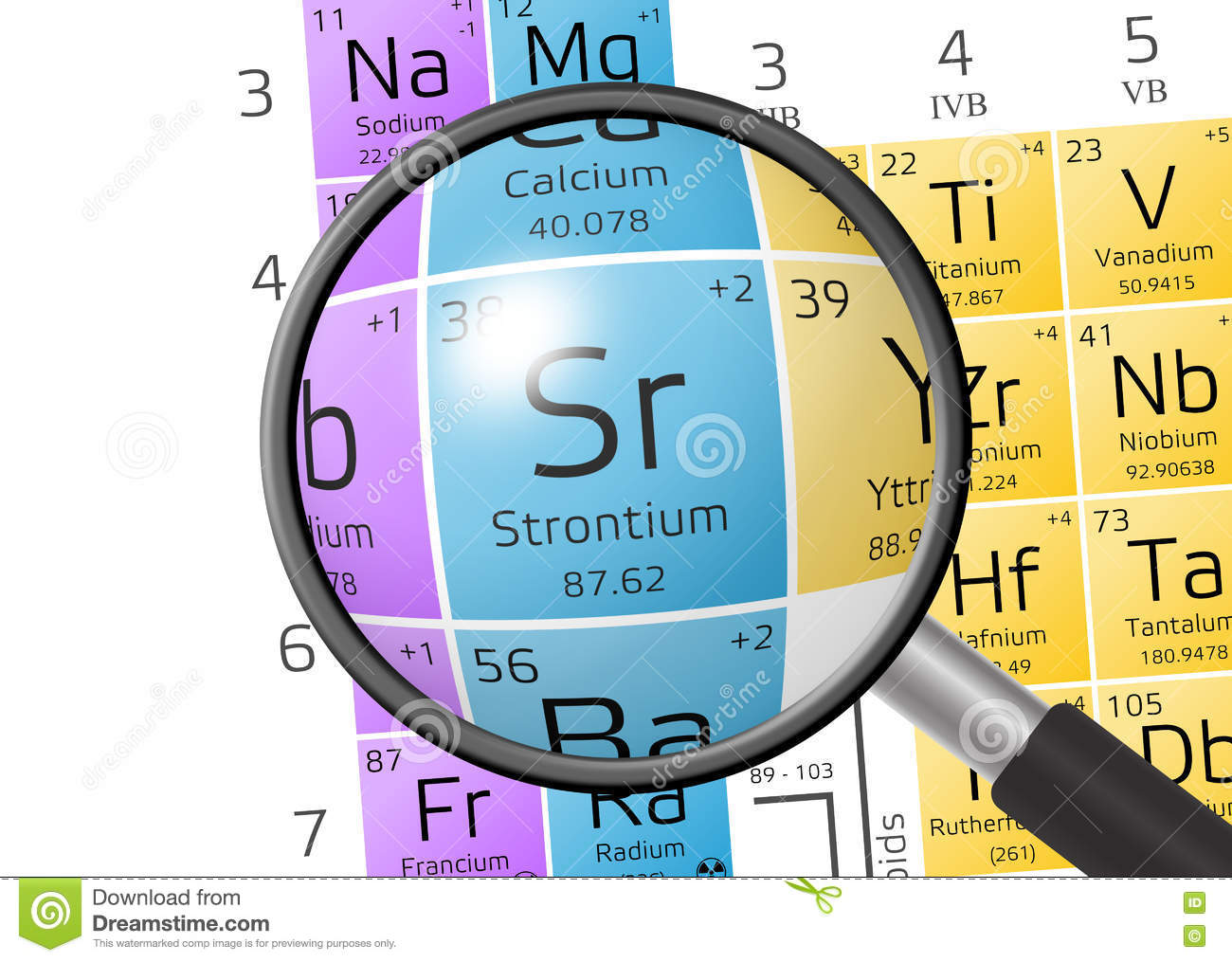 Element Of Strontium With Magnifying Glass Stock Illustration