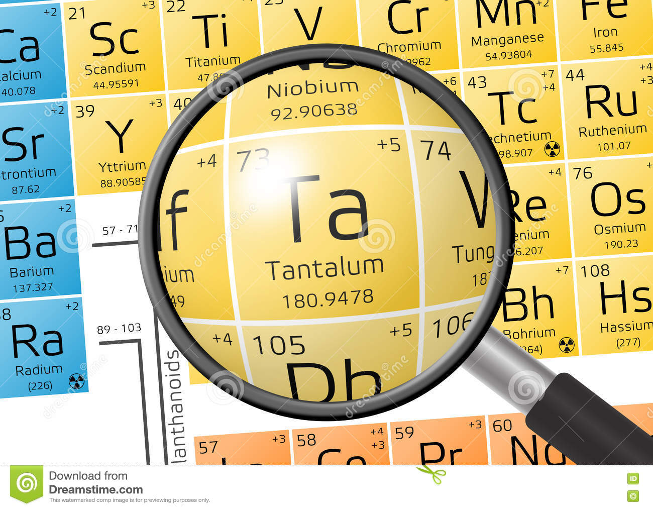 Element Of Tantalum With Magnifying Glass Stock Illustration