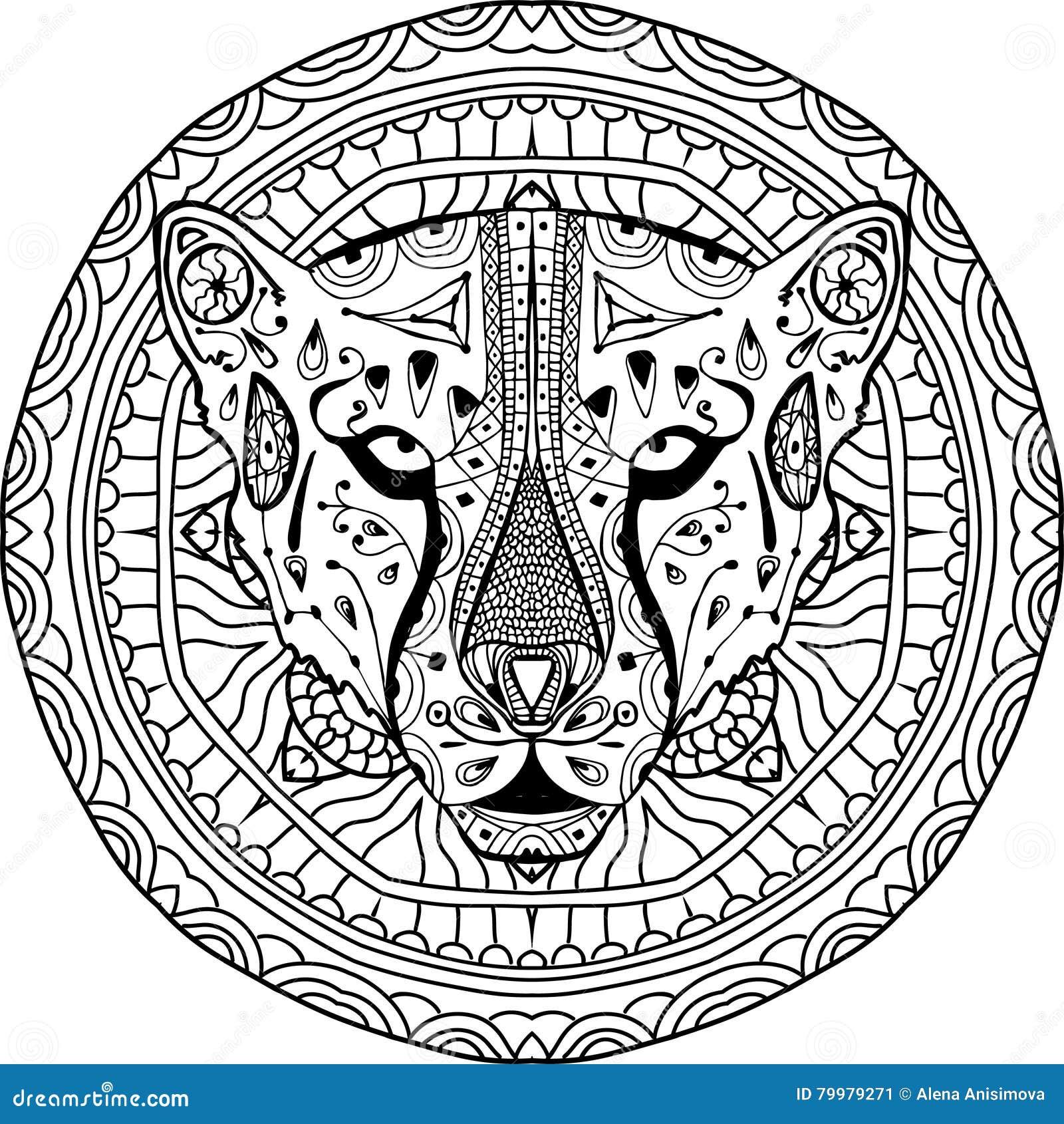 Element voor uw ontwerp Nationaal etnisch cirkelpatroon met het hoofd van een Jachtluipaard Kleurende pagina