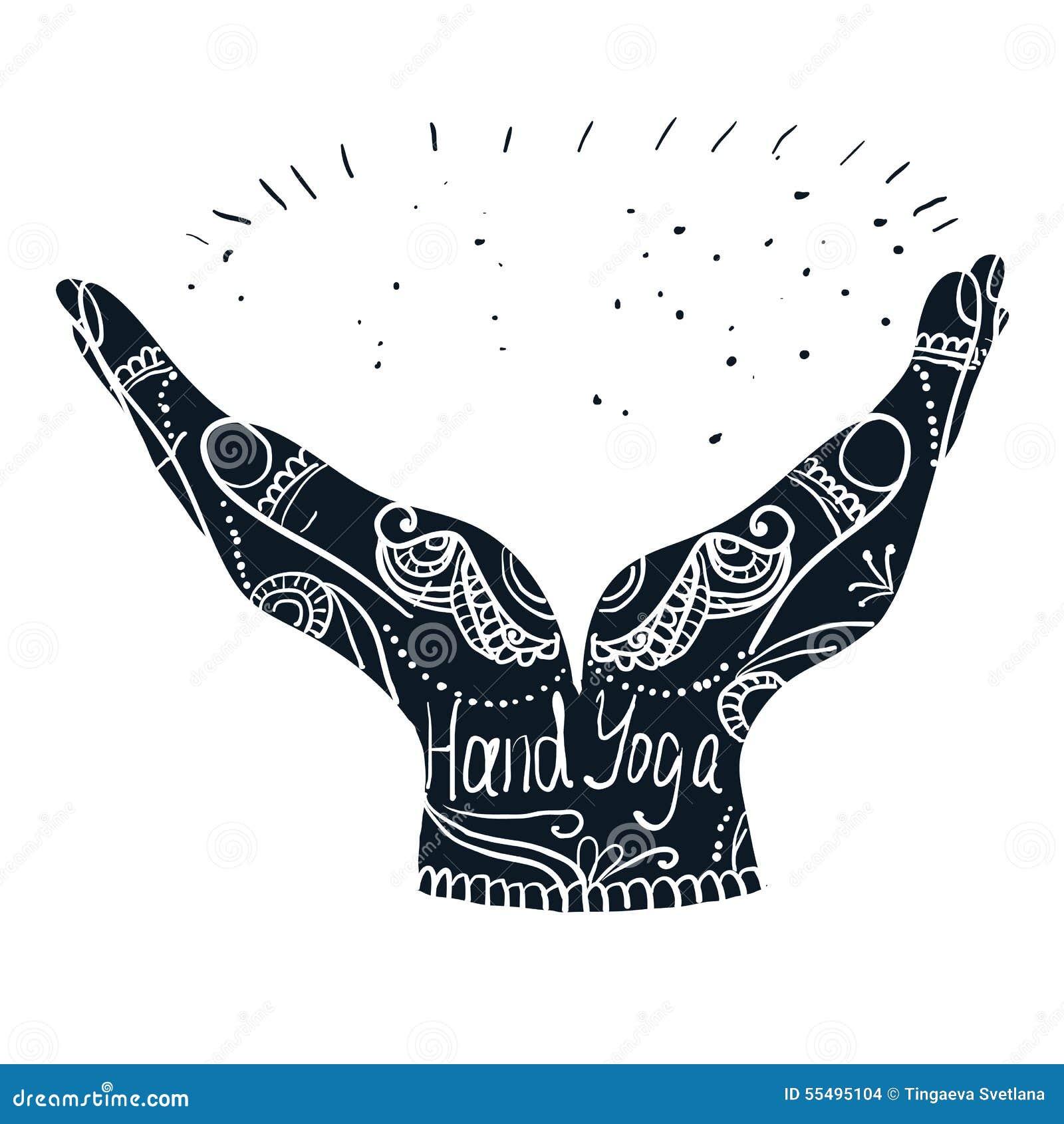 Mehndi Hands Clipart : Element yoga mudra hands with mehndi patterns stock
