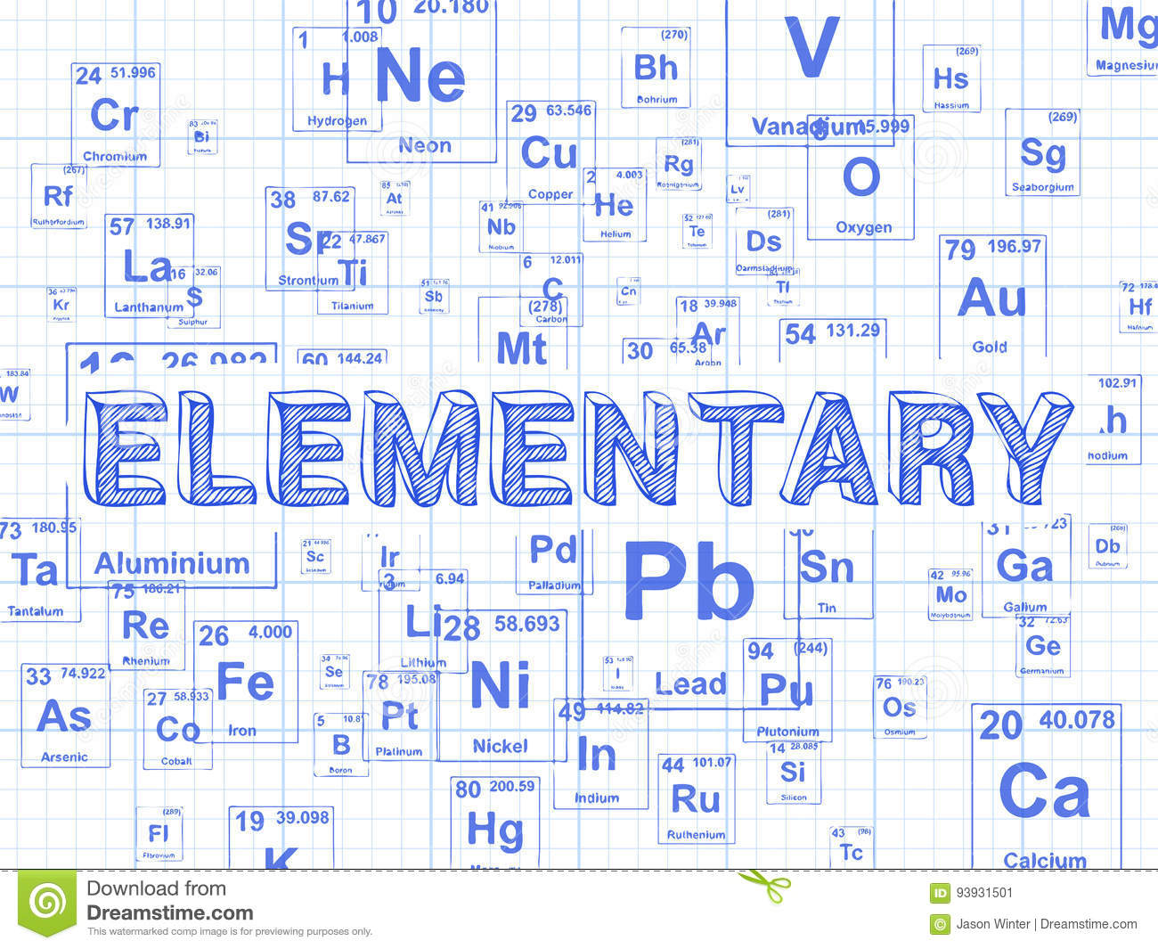 Elementary Element Graph Paper Background Stock Vector