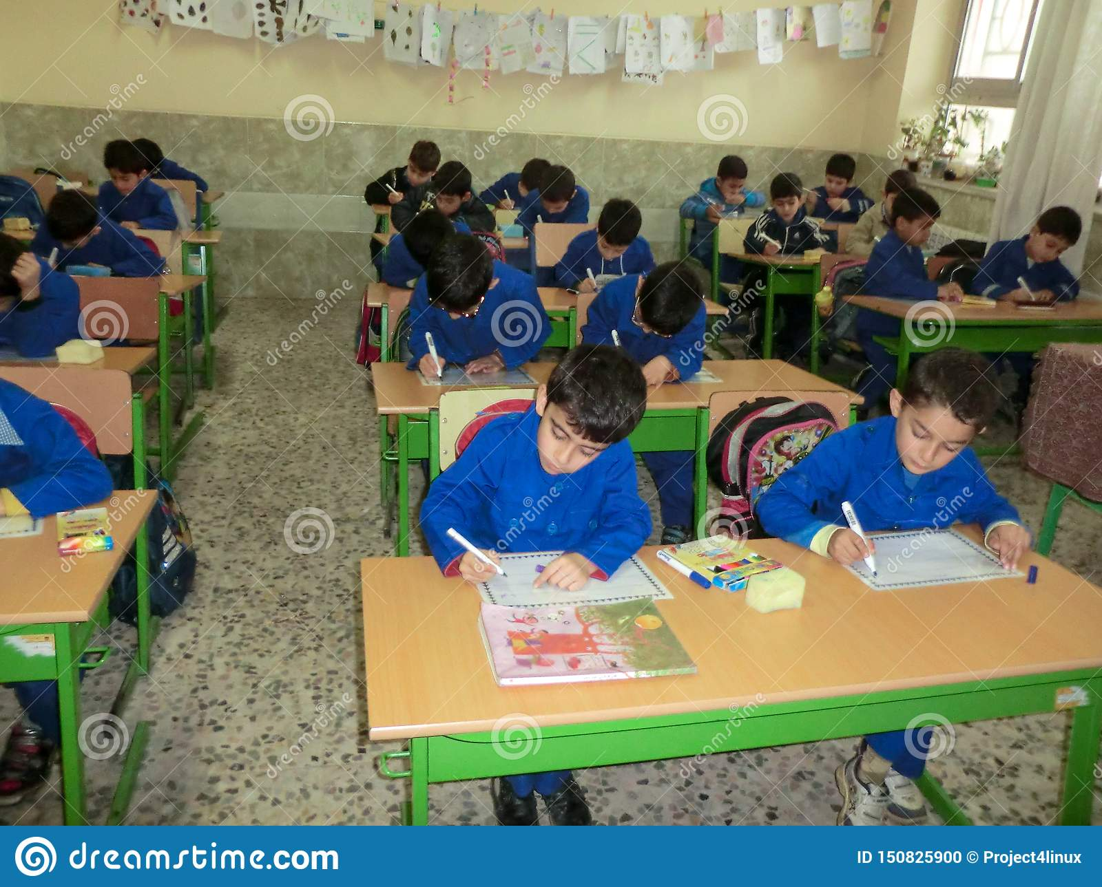 Elementary school boys Gilan Iran. One of the primary school boys in Rasht, Guilan province, Iran