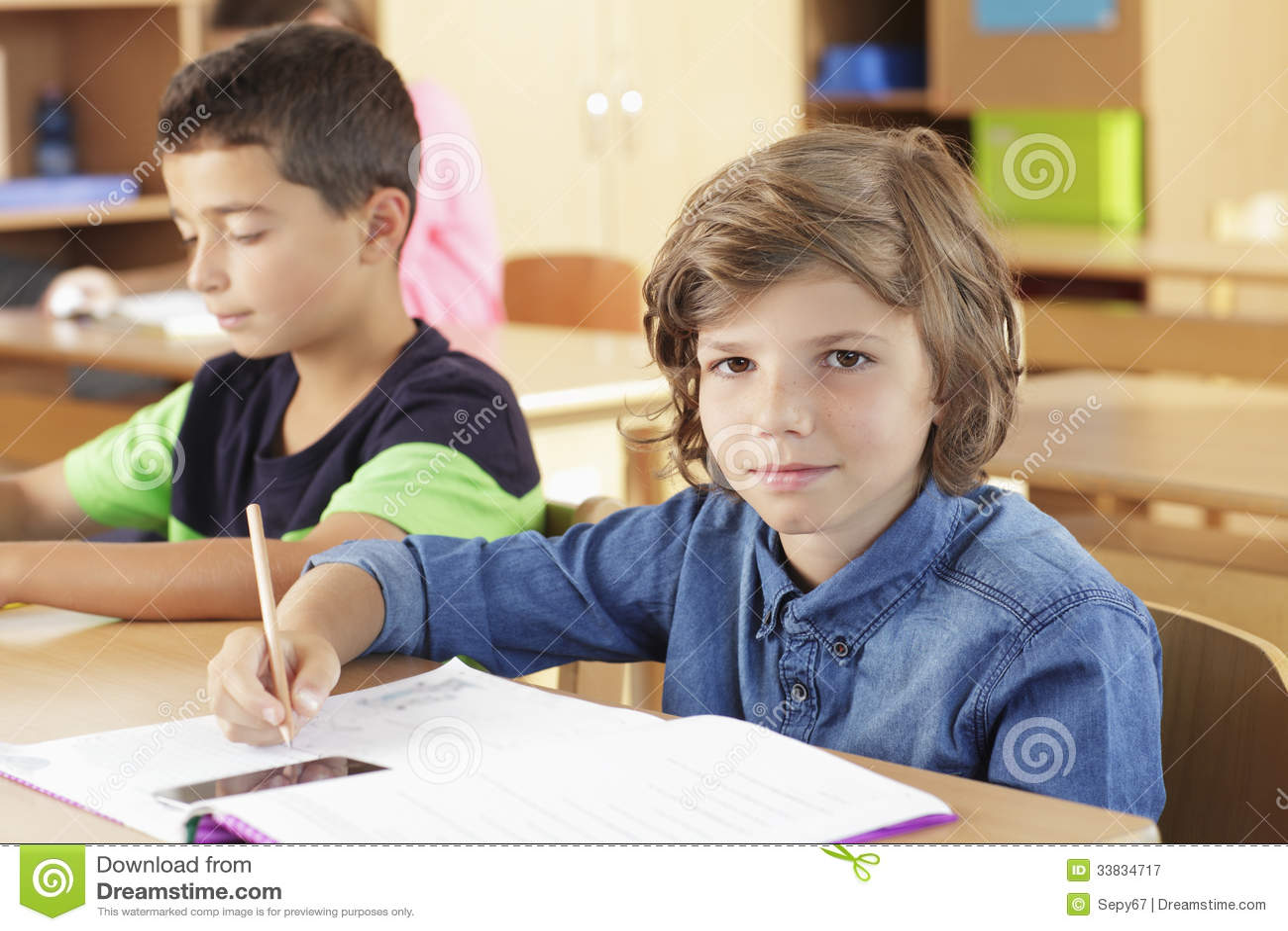 Elementary Classrooms Writing ~ Elementary school classroom royalty free stock photography