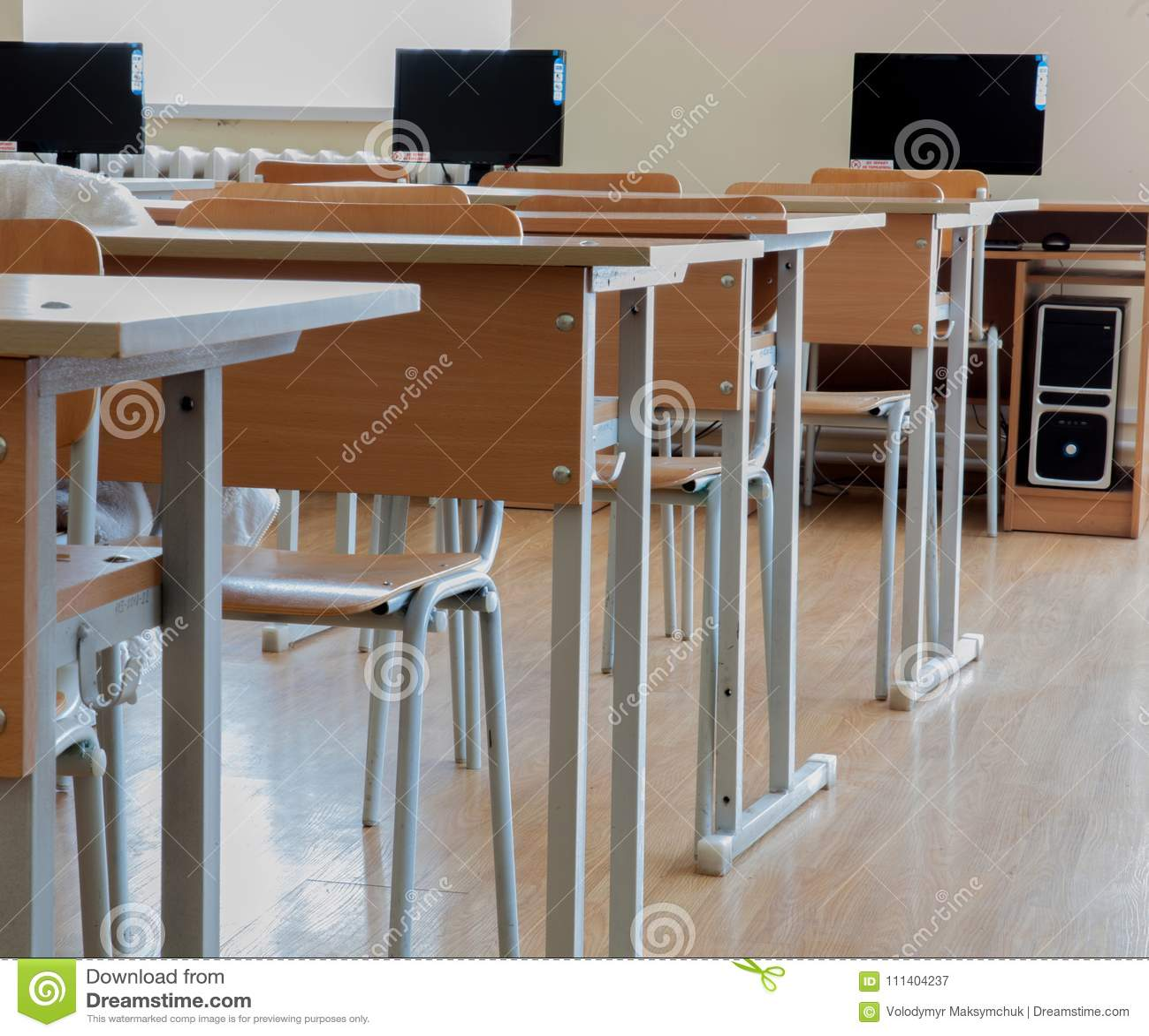 Elementary School Classroom In Ukraine, School Desks In The