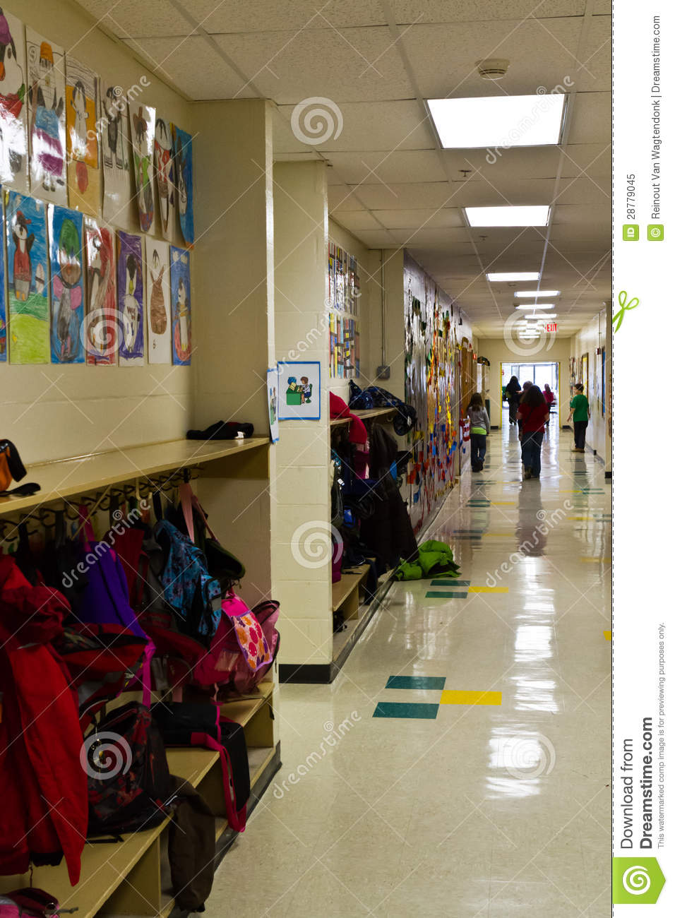 Elementary School Hallway Stock Image Image Of Artwork