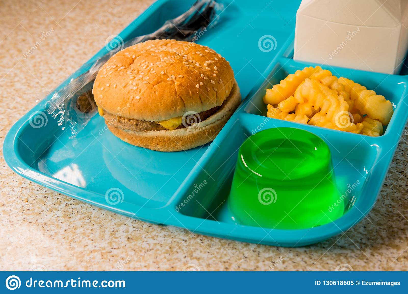 School Lunch Tray Cheeseburger Stock Image - Image of back