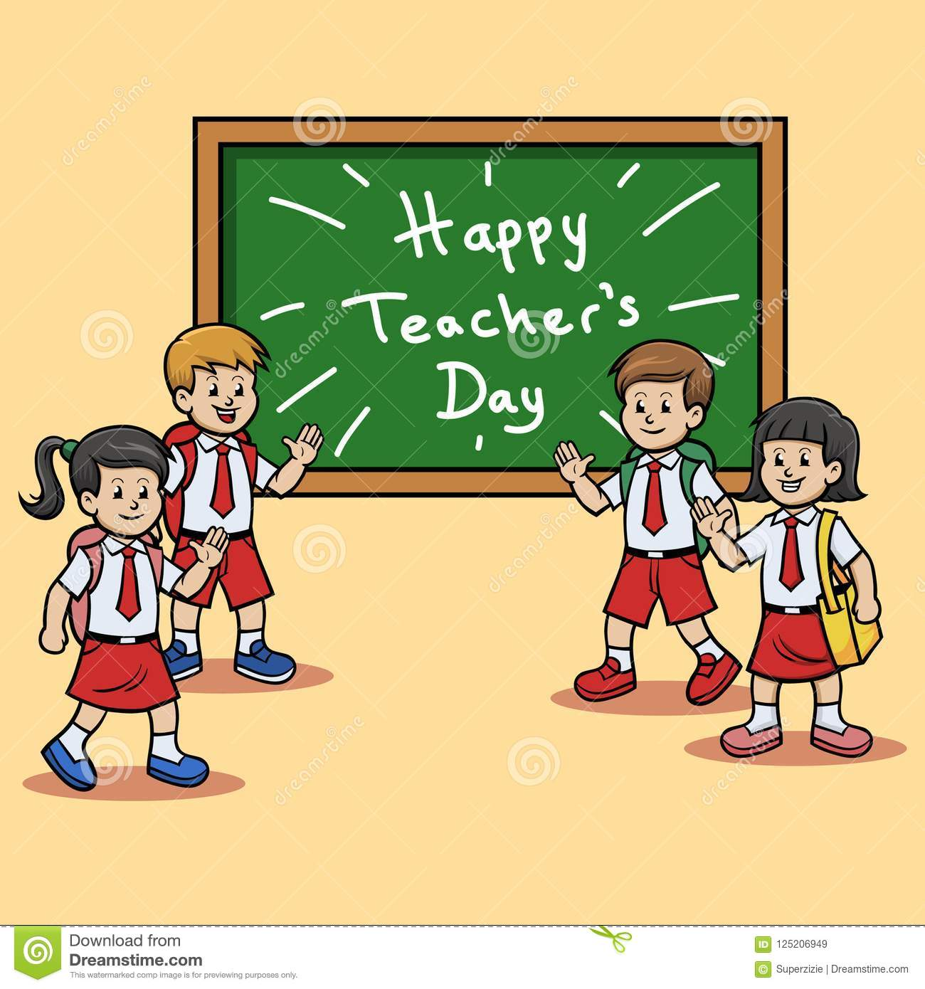 Elementary school students give teachers day greeting stock vector download elementary school students give teachers day greeting stock vector illustration of chalk m4hsunfo