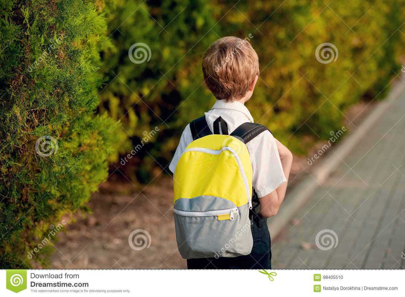 Elementary Student  Little 7 Years Old Boy With Backpack