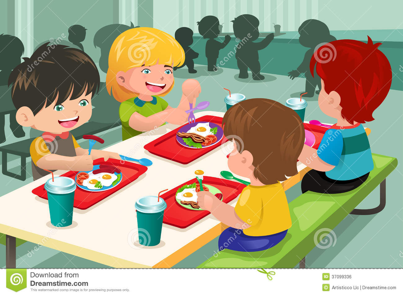 Displaying 20 gt  Images For - Cafeteria Kids Clip Art   Kids Eating Breakfast At School Clipart
