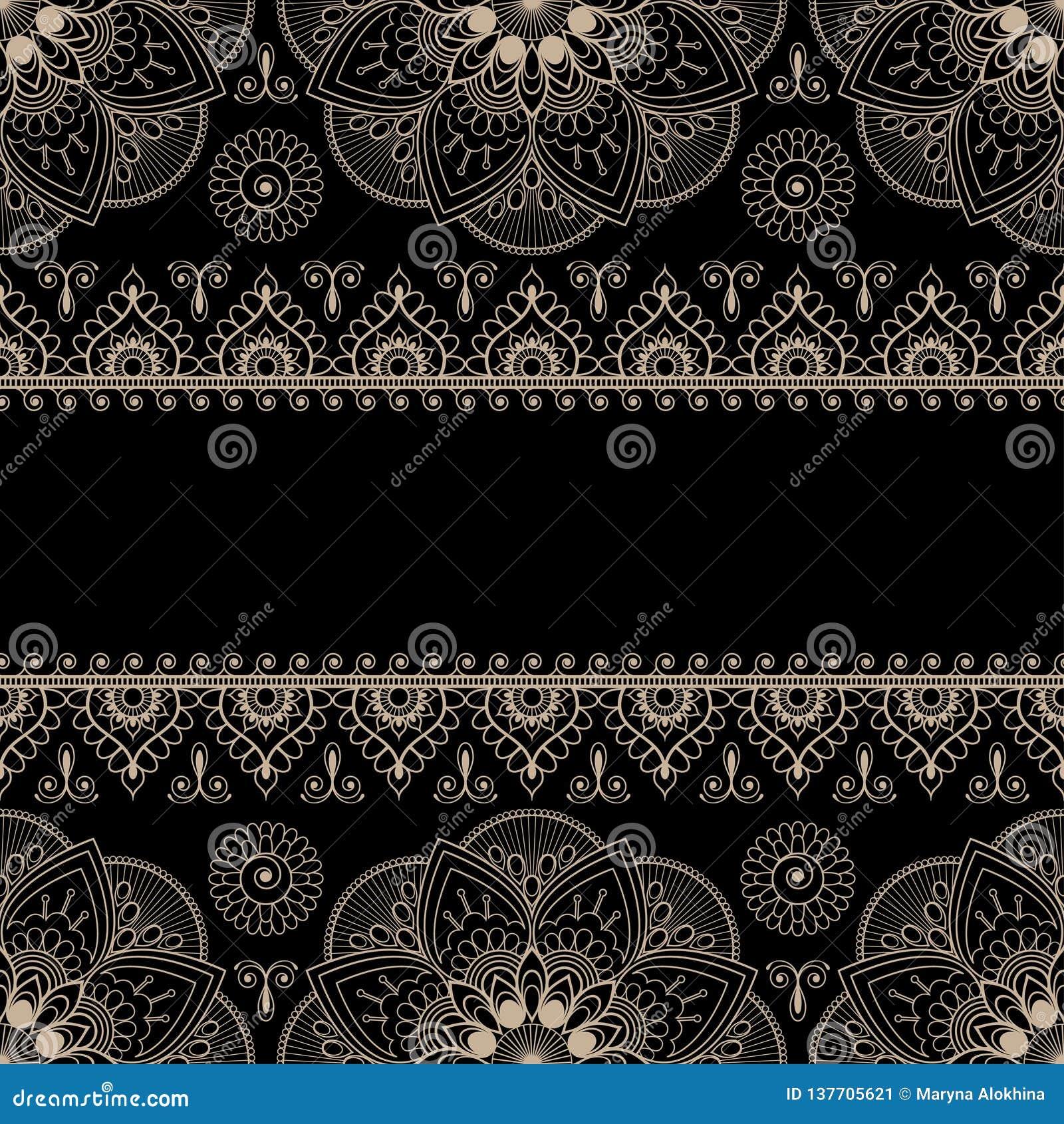 Elementen van het grens de beige die patroon met bloemen voor kaarten of tatoegering op zwarte achtergrond wordt geïsoleerd