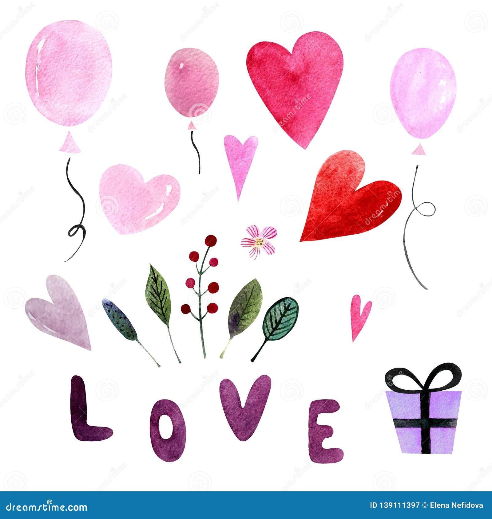 Elementen voor Valentijnskaartendag Waterverfillustratie met ballons, harten, bladeren en kruiden, woordliefde, gift gelukkig