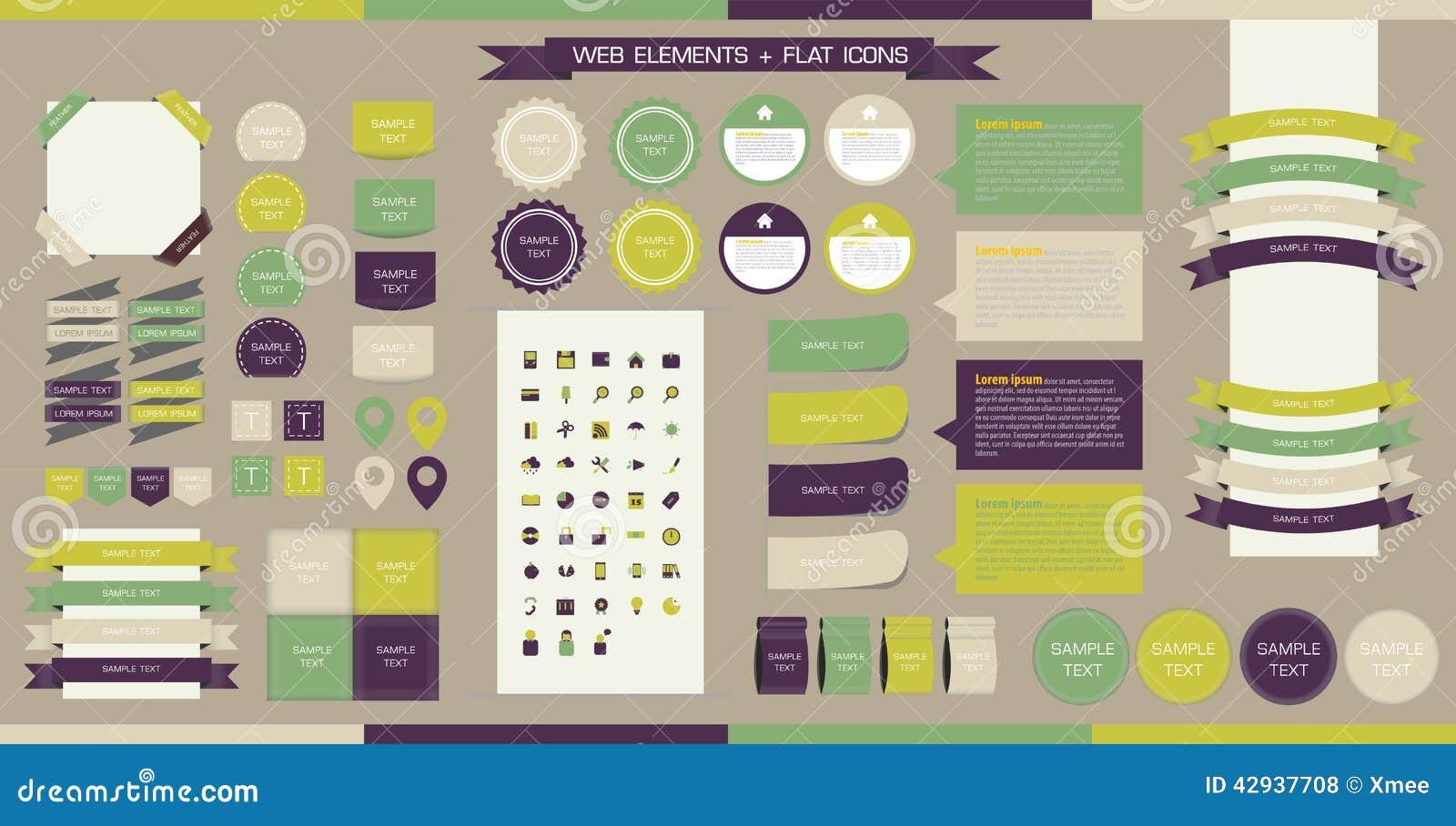 Elementi bottoni e contrassegni di web di vettore sito for Sito web di progettazione edilizia