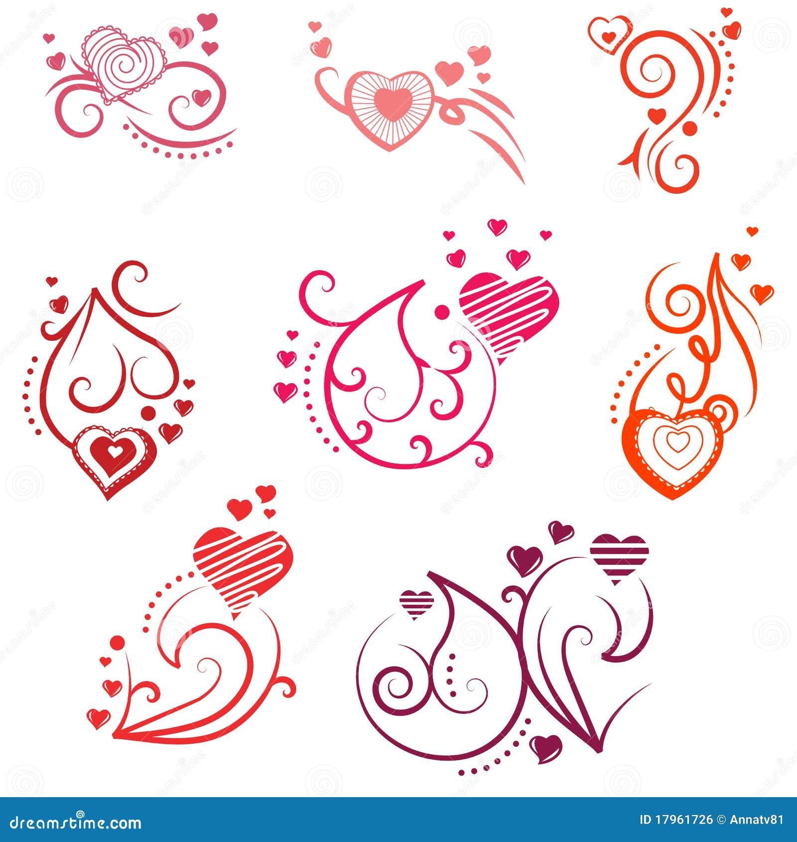 Elementi decorati di disegno con i cuori illustrazione - Decorazioni cuori ...