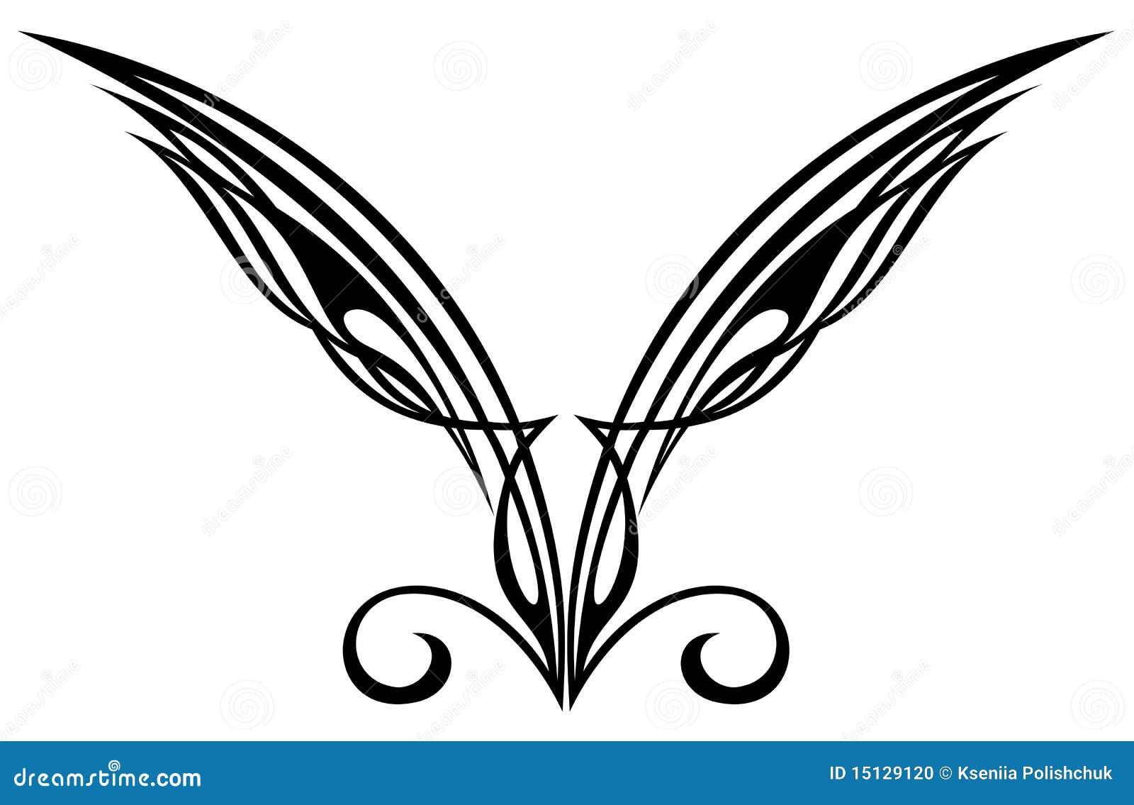 Elementi Di Disegno Del Tatuaggio Ali Illustrazione Vettoriale
