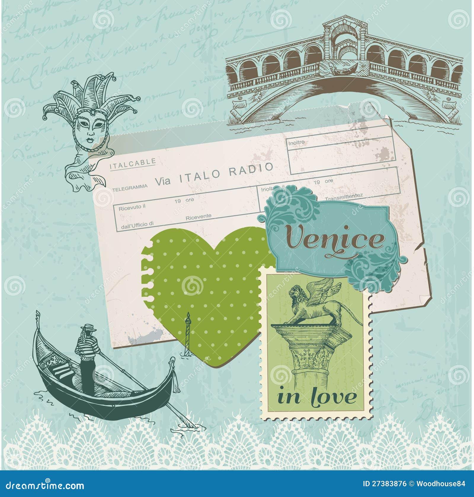Elementi di disegno dell album per ritagli - insieme dell annata di Venezia