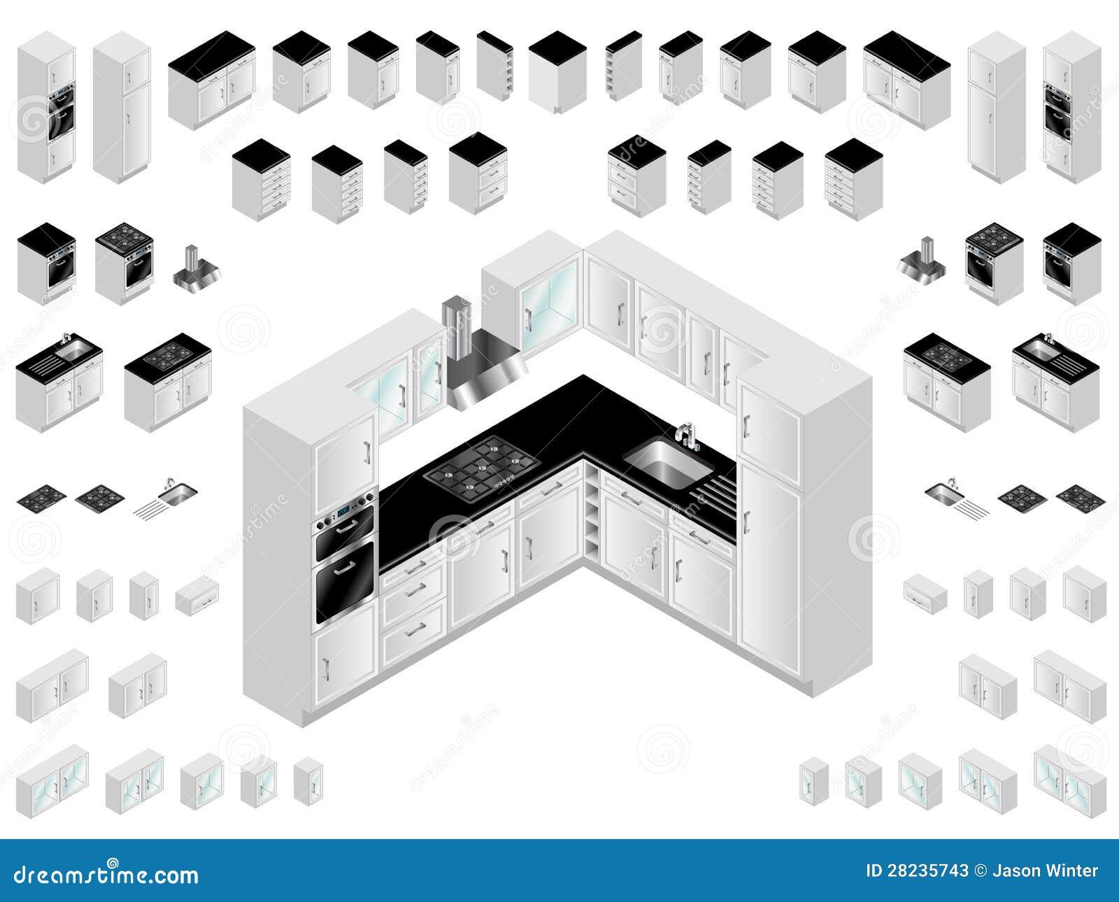 Elementi di disegno della cucina illustrazione vettoriale for Disegno cucina