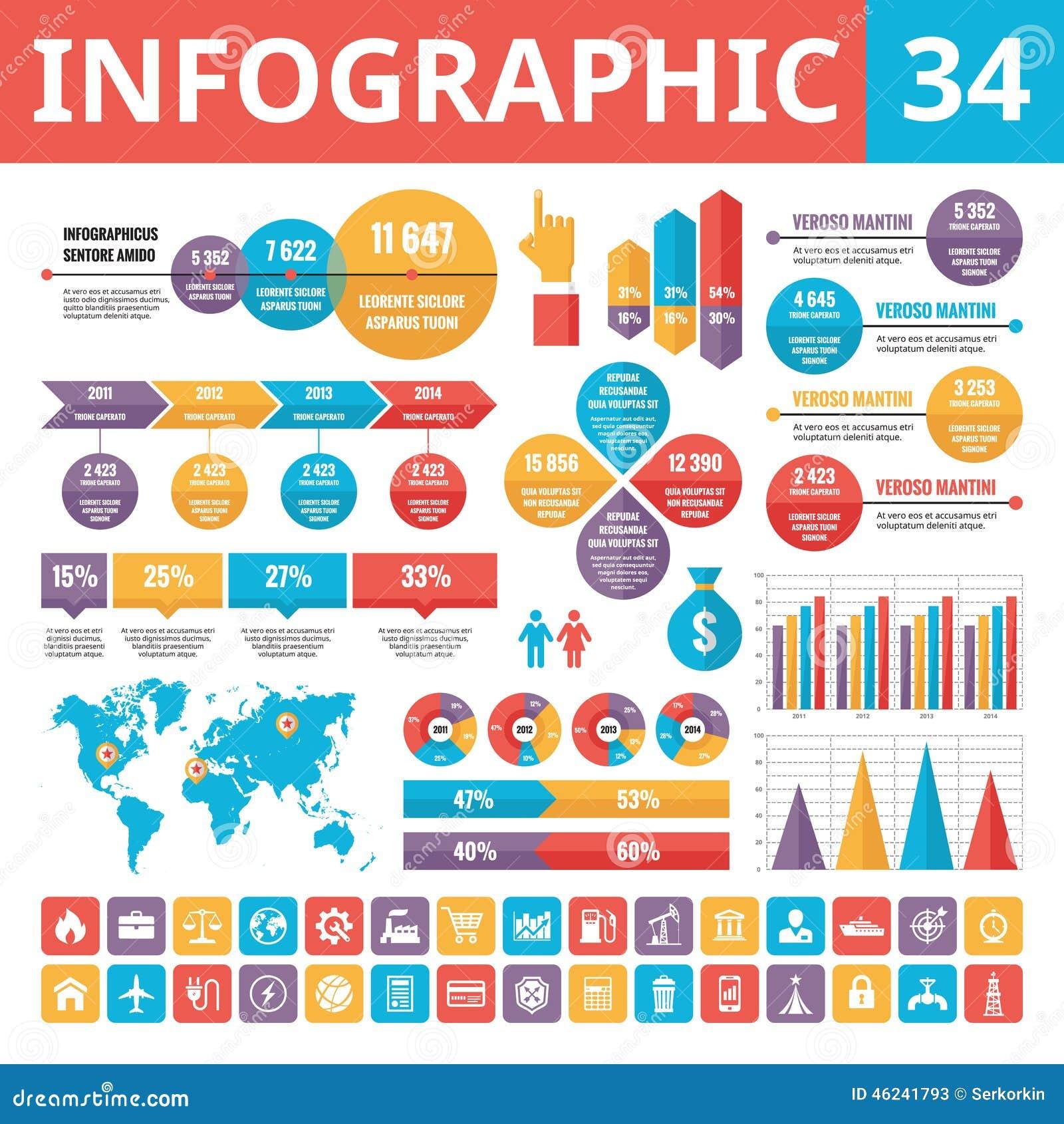 Elementi 34 di Infographic Insieme degli elementi di progettazione di vettore nello stile piano per la presentazione, il libretto