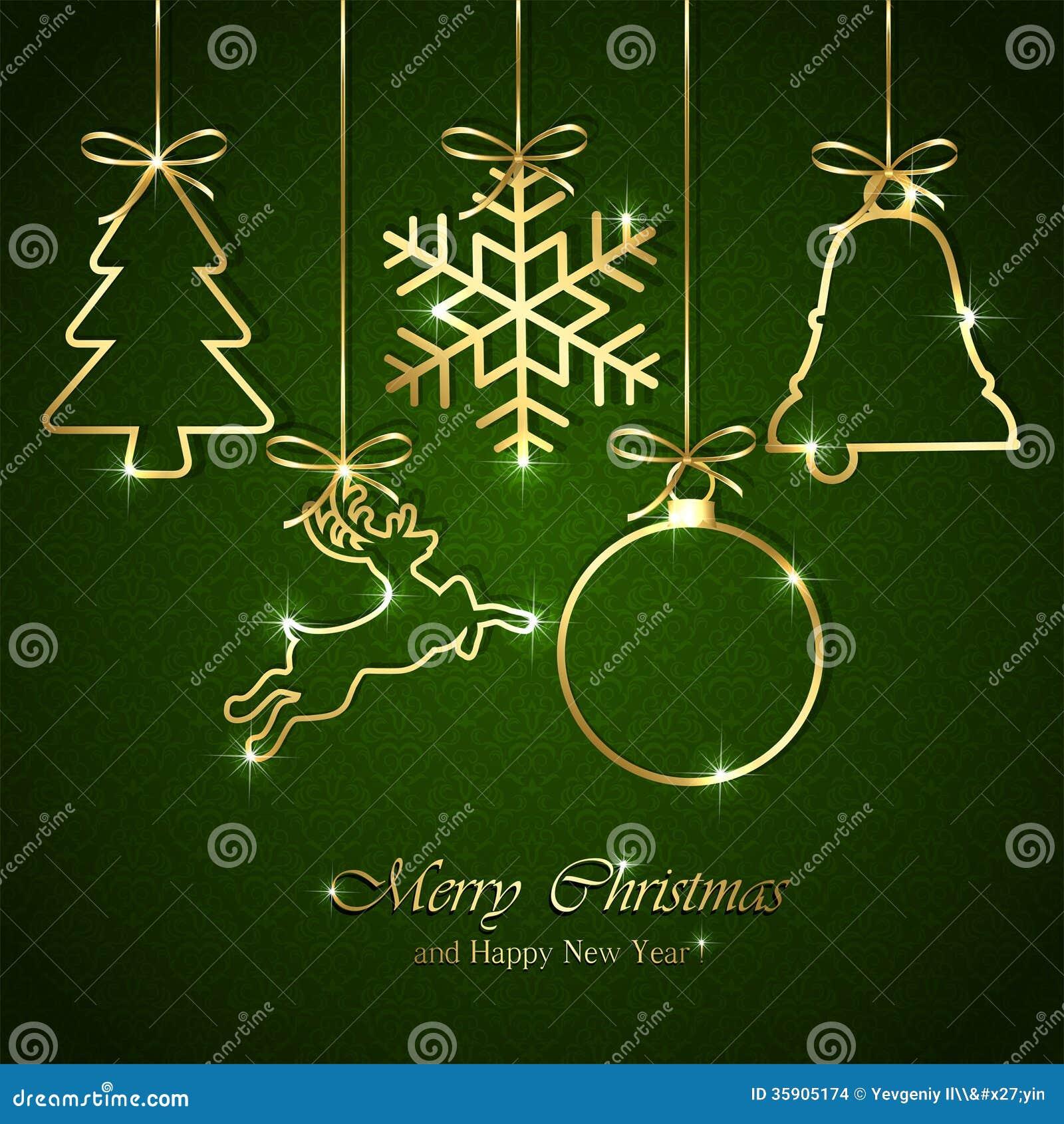 Elementi di Natale su fondo verde senza cuciture